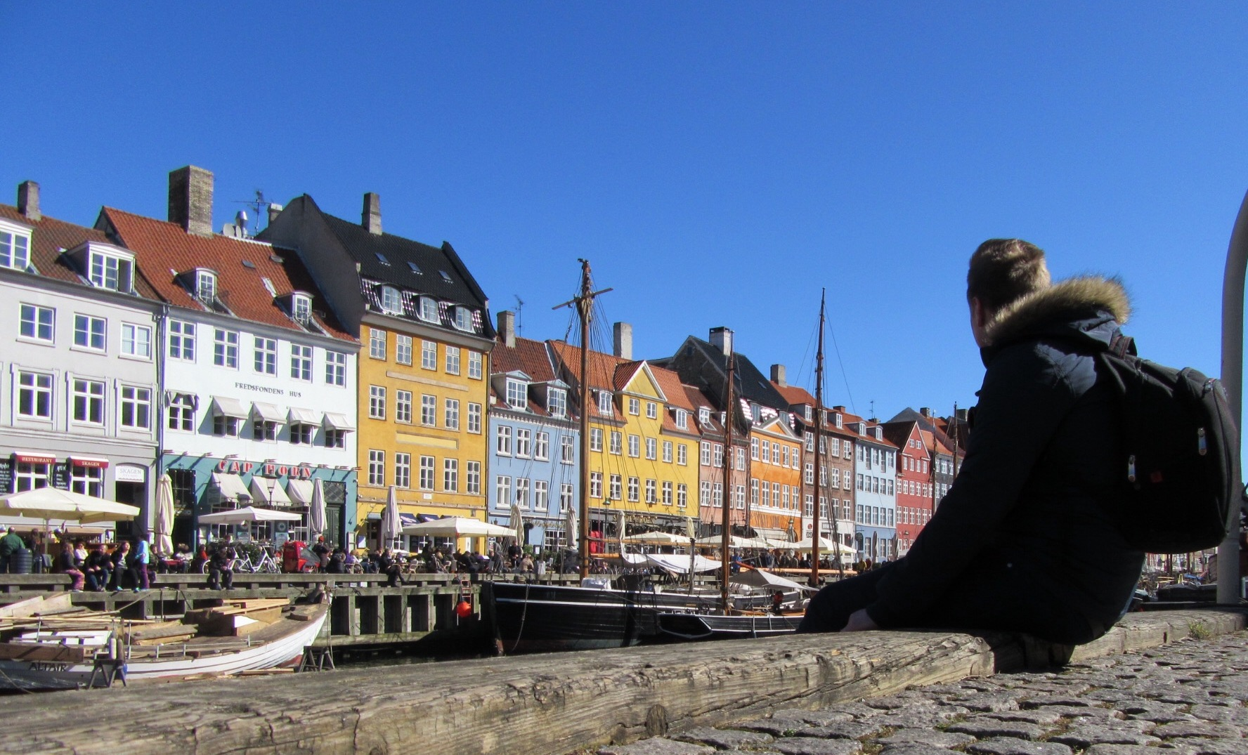 Looking out over the canal at Nyhavn in Copenhagen.
