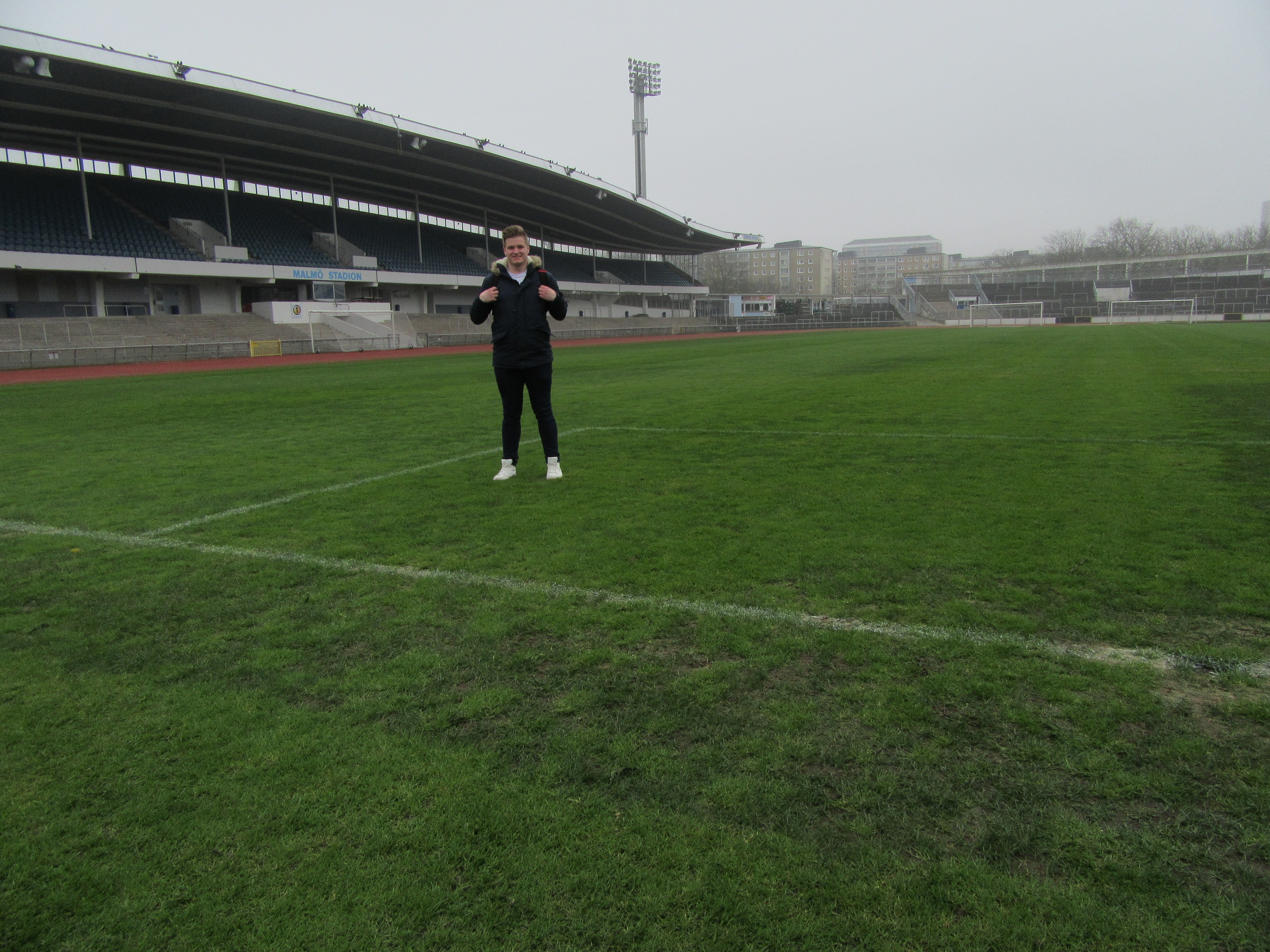 Getting on the pitch at Malmö Stadion! I'll probably explain this in a later blog post.