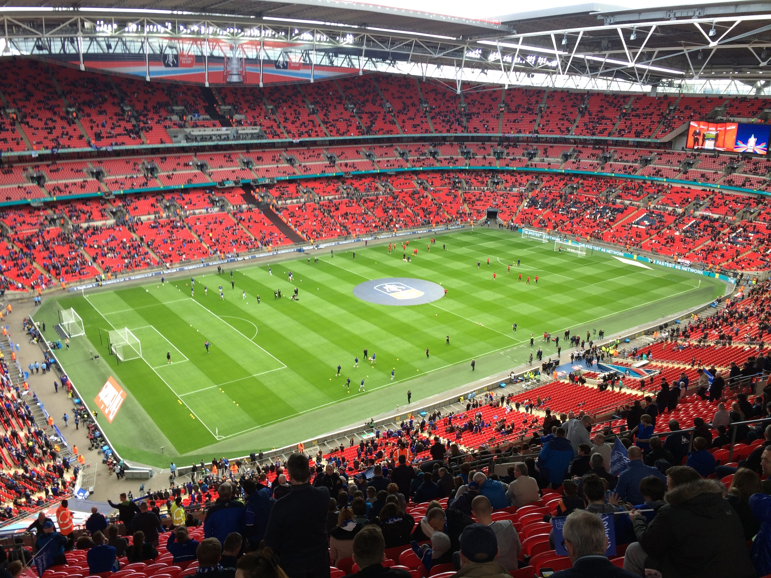 The view from our seats at Wembley Stadium.