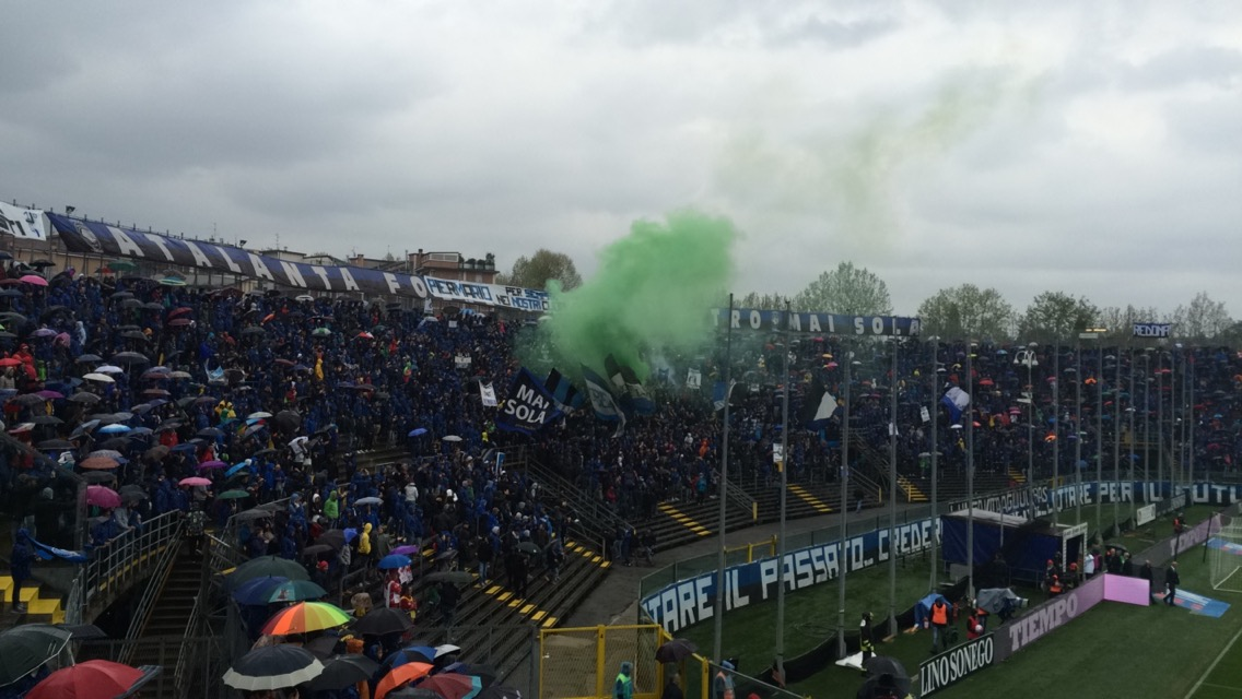 Curva nord - home of the Atalanta ultras who can be seen celebrating in this image.