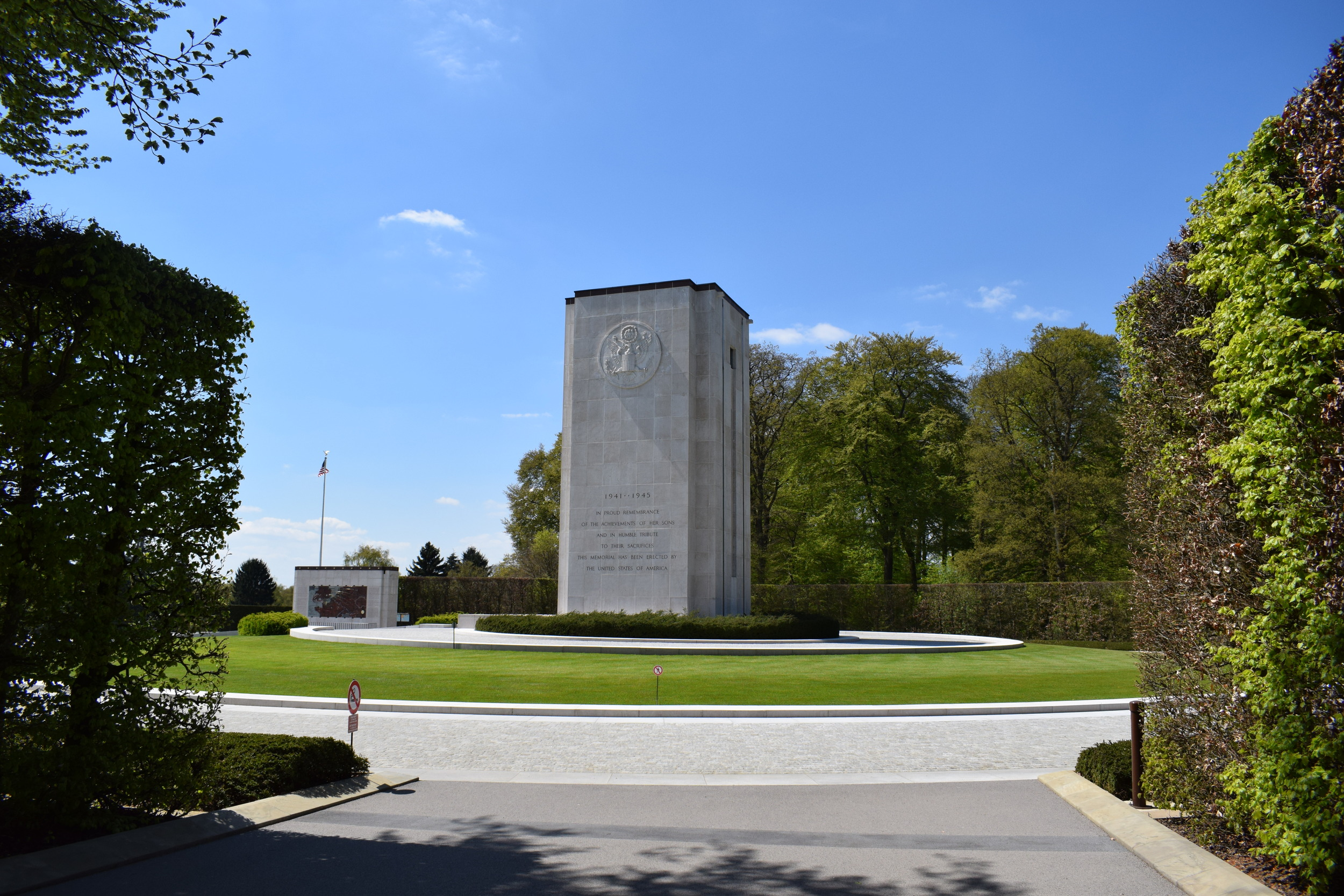 The site's white stone chapel and memorial.