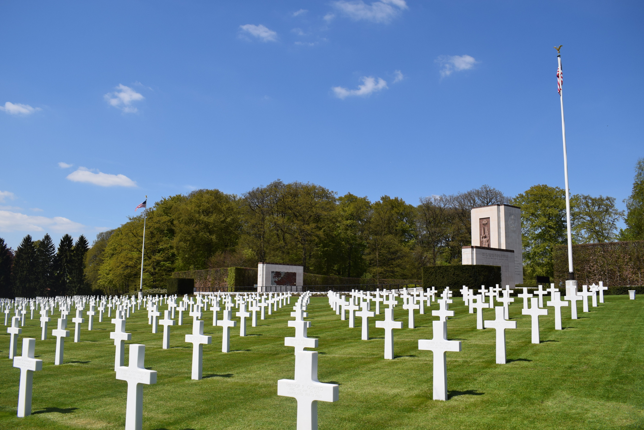 General Patton's grave lies between the two flagpoles.