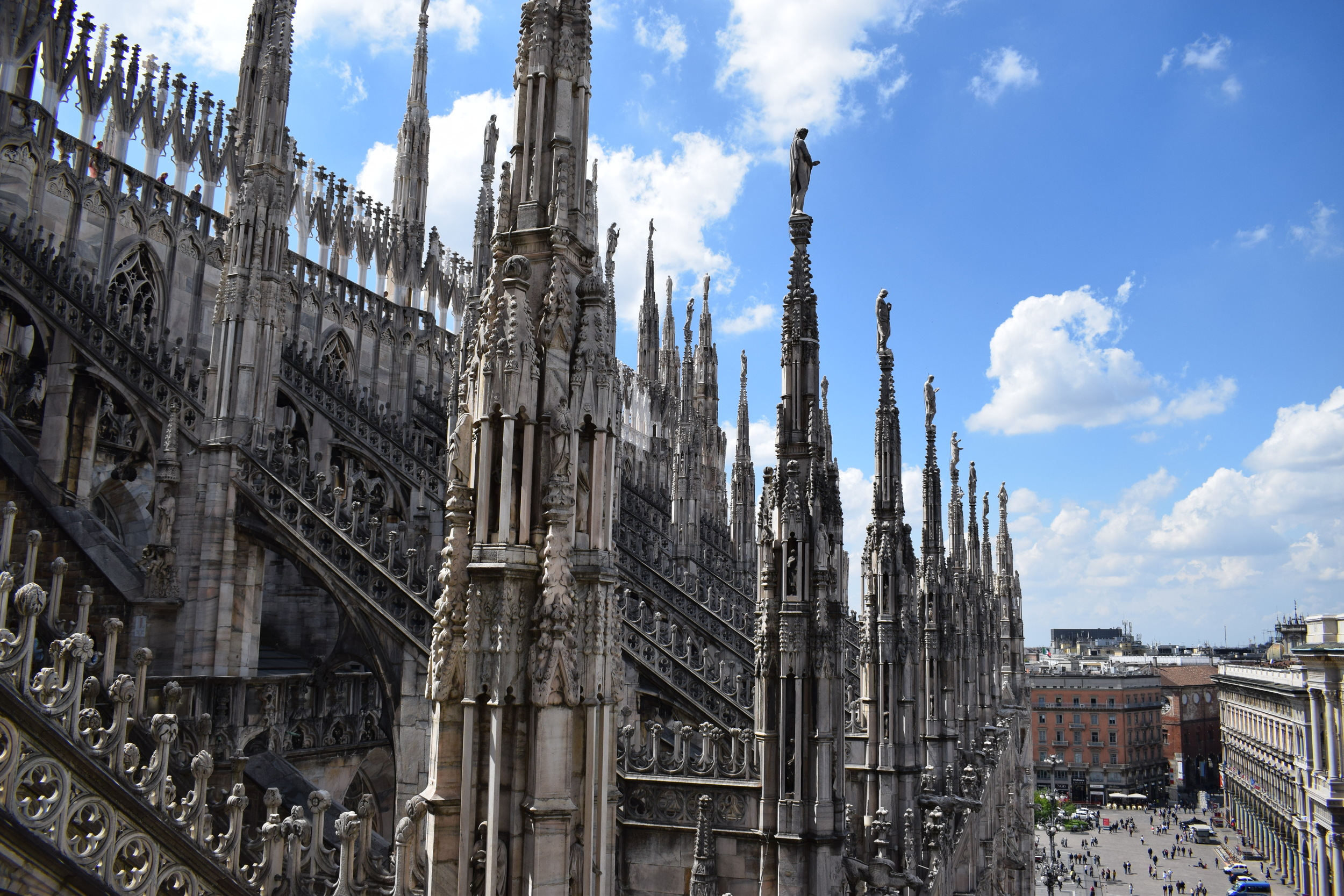 Milan Cathedral's spires give it its distinctive look.