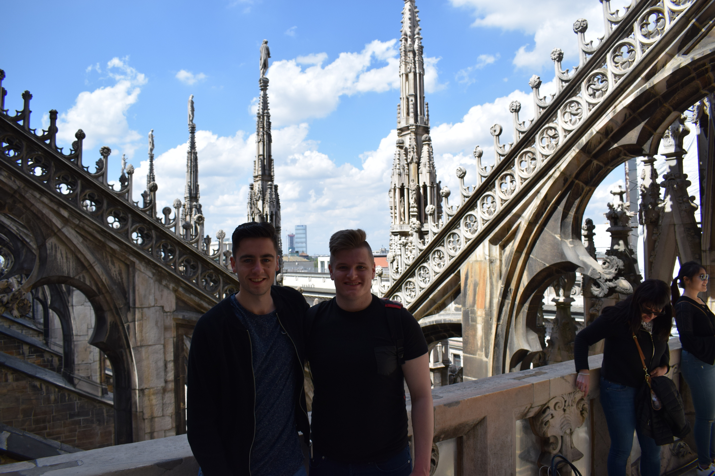Taking a photo opportunity on Milan Cathedral's rooftop.