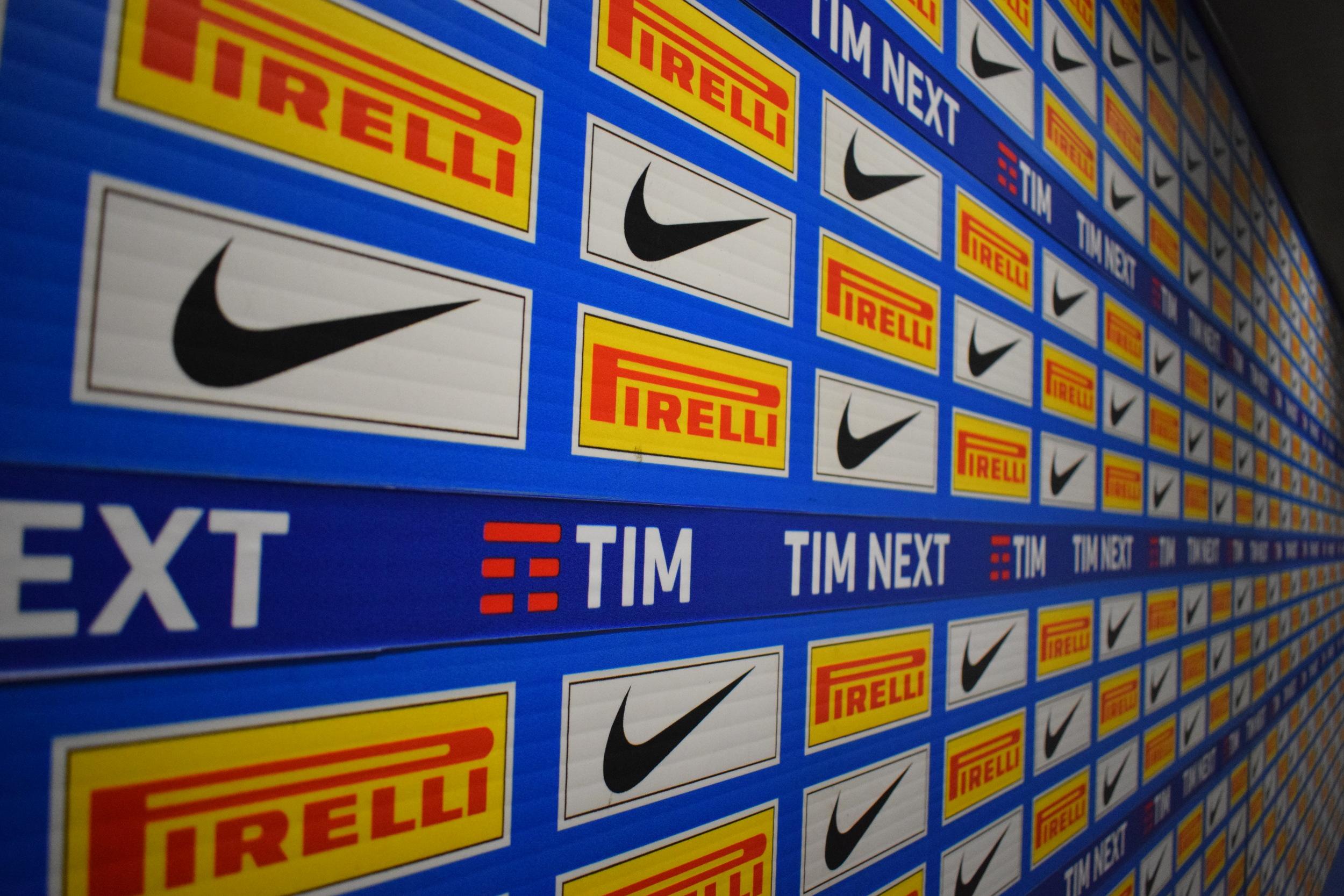 The San Siro mixed zone in Internazionale colours.