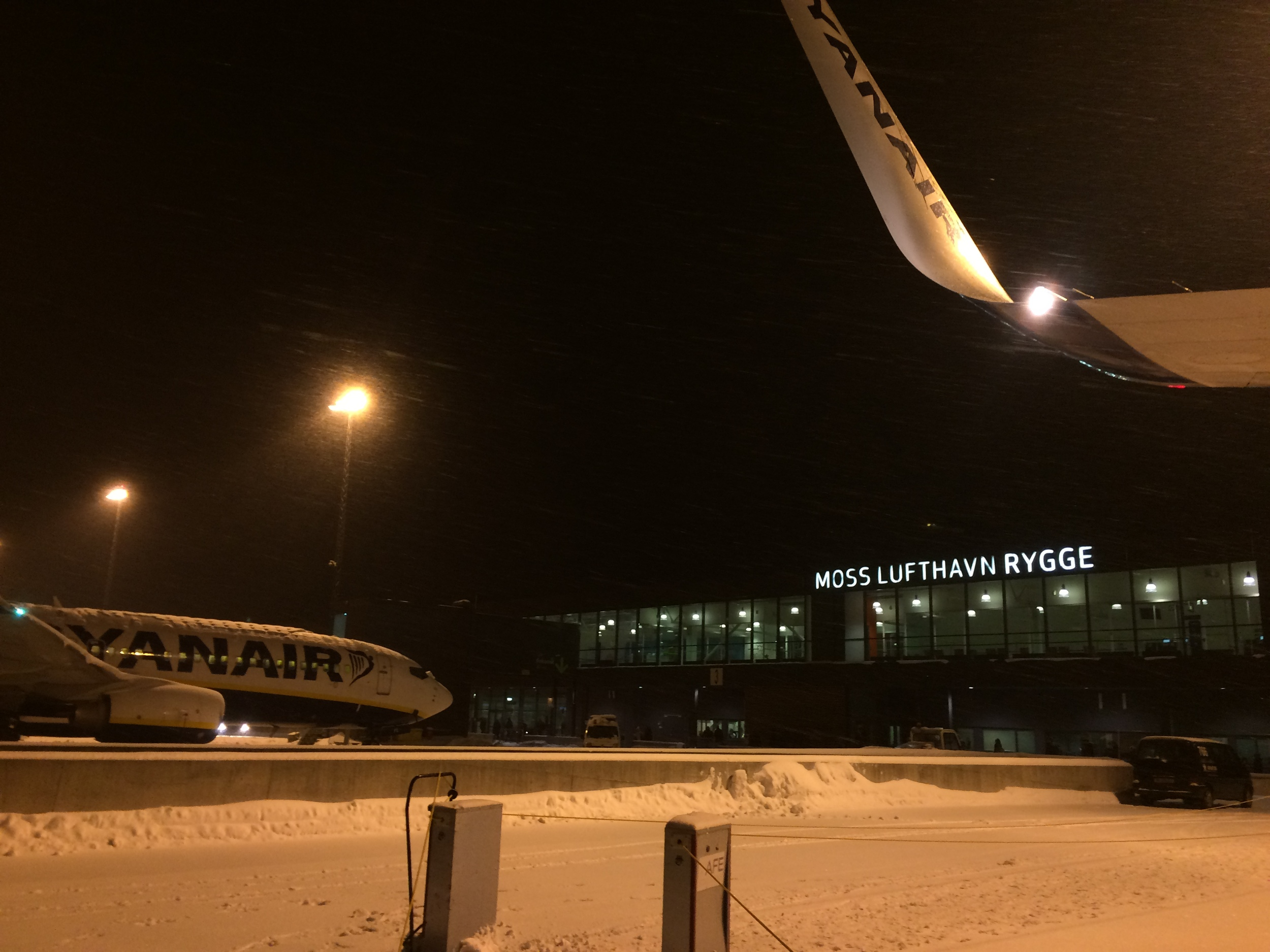 Getting off the plane at Moss Rygge airport.