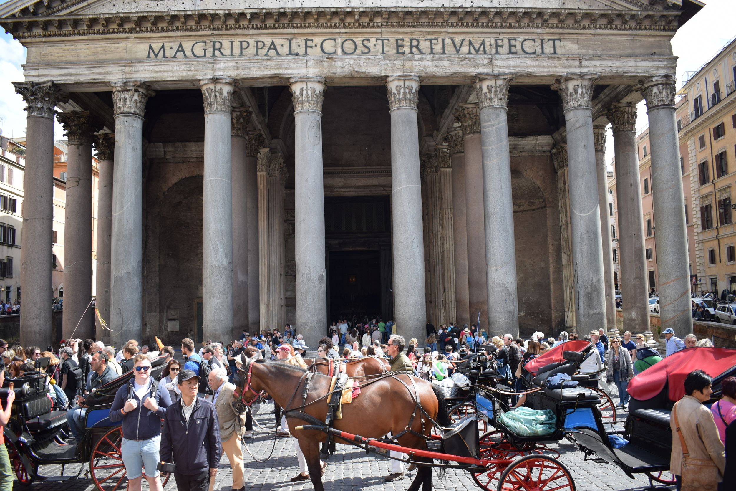 Trying to get a picture in front of the Pantheon was an uphill task due to the sheer number of people and, er, horses knocking around.