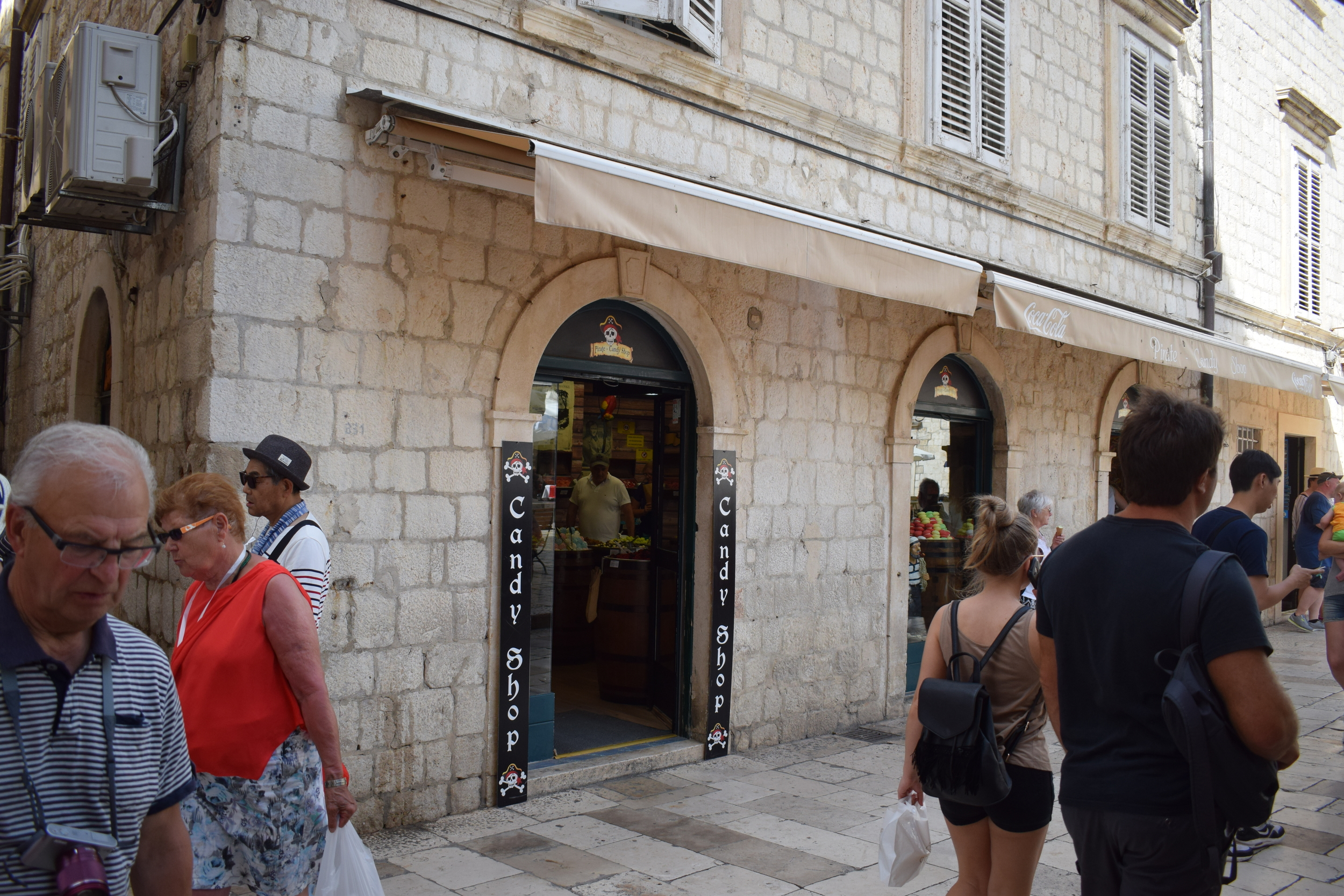 Pirate Candy Store's exterior on Stradun, Old Town's busiest street.