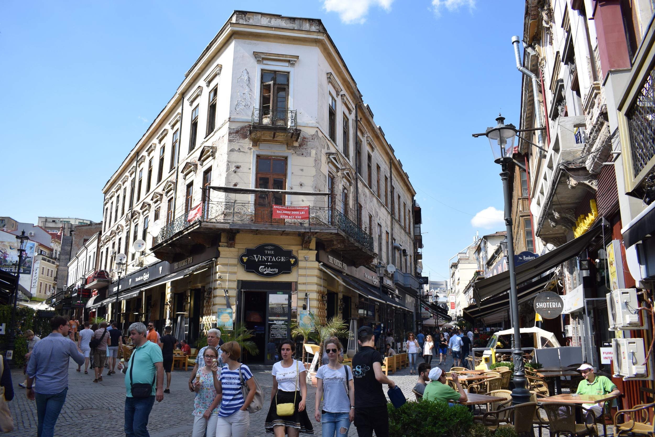 Two of the main streets for nightlife in Bucharest.