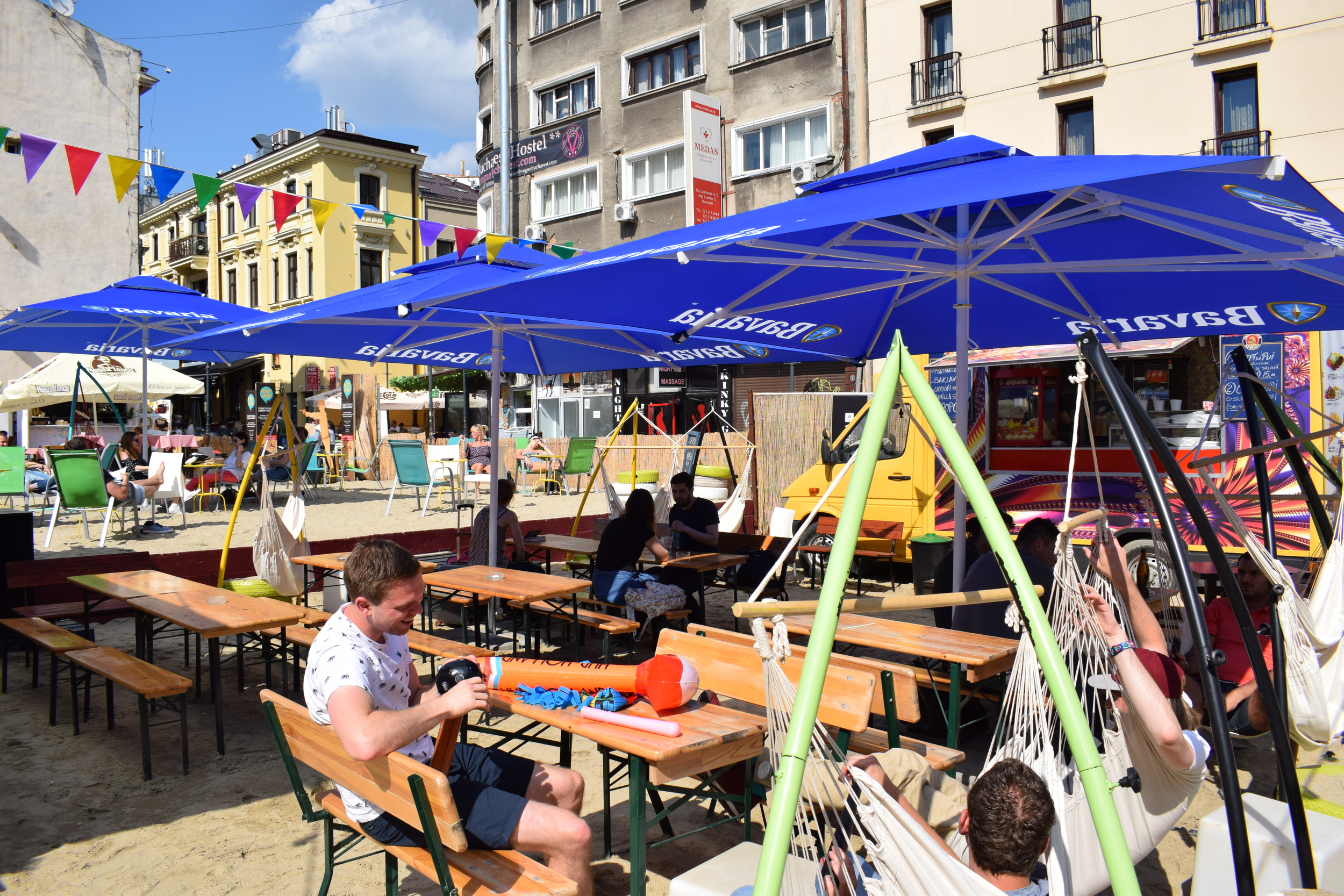 Life's a beach in the centre of Bucharest.