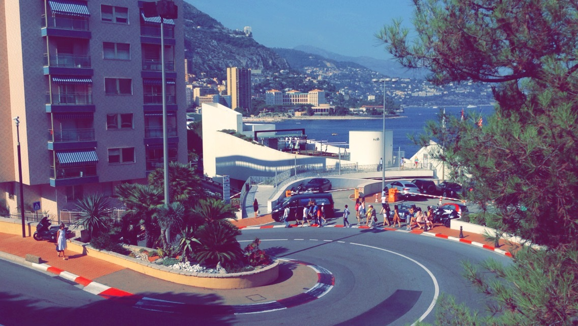 The Fairmont Hairpin, part of the Monaco Grand Prix circuit. It is also the slowest corner in Formula 1, and is taken at 30 mph.