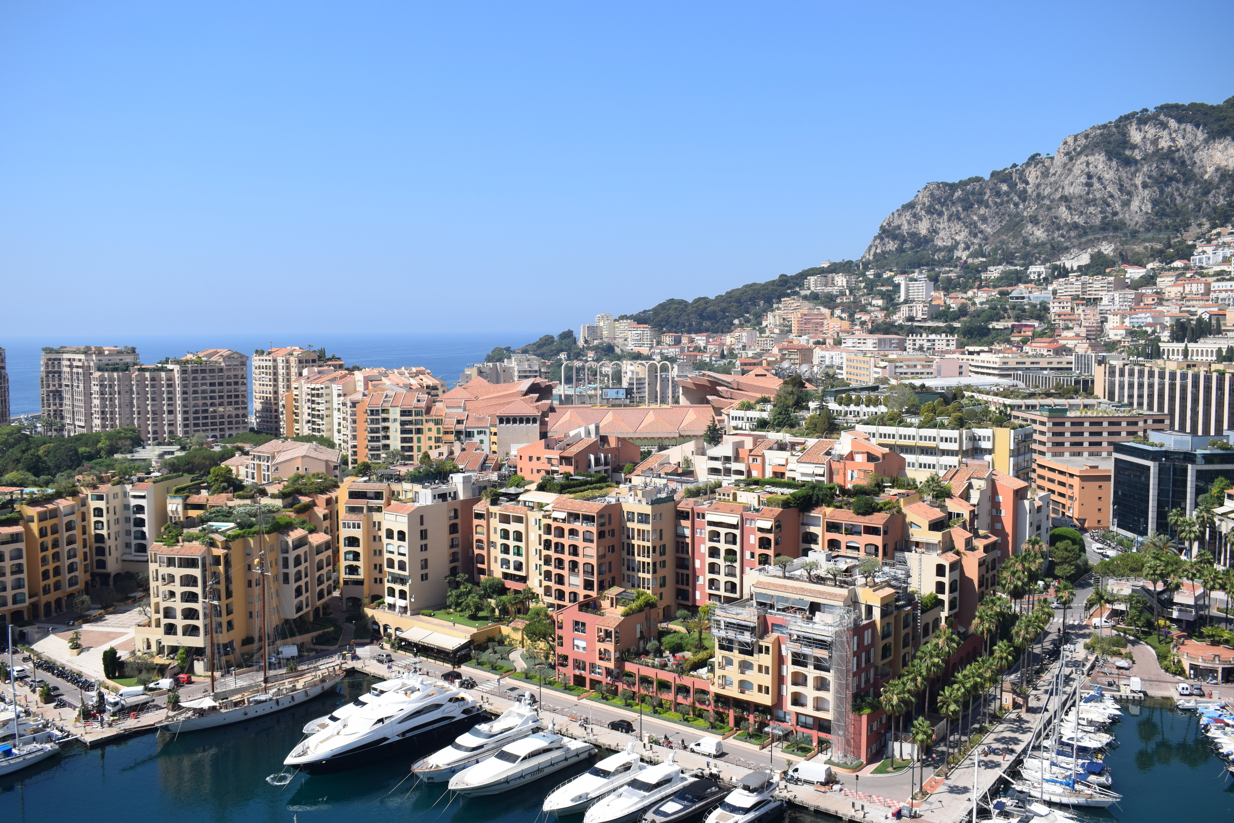 Can you spot Stade Louis II, as seen from Place du Palais?