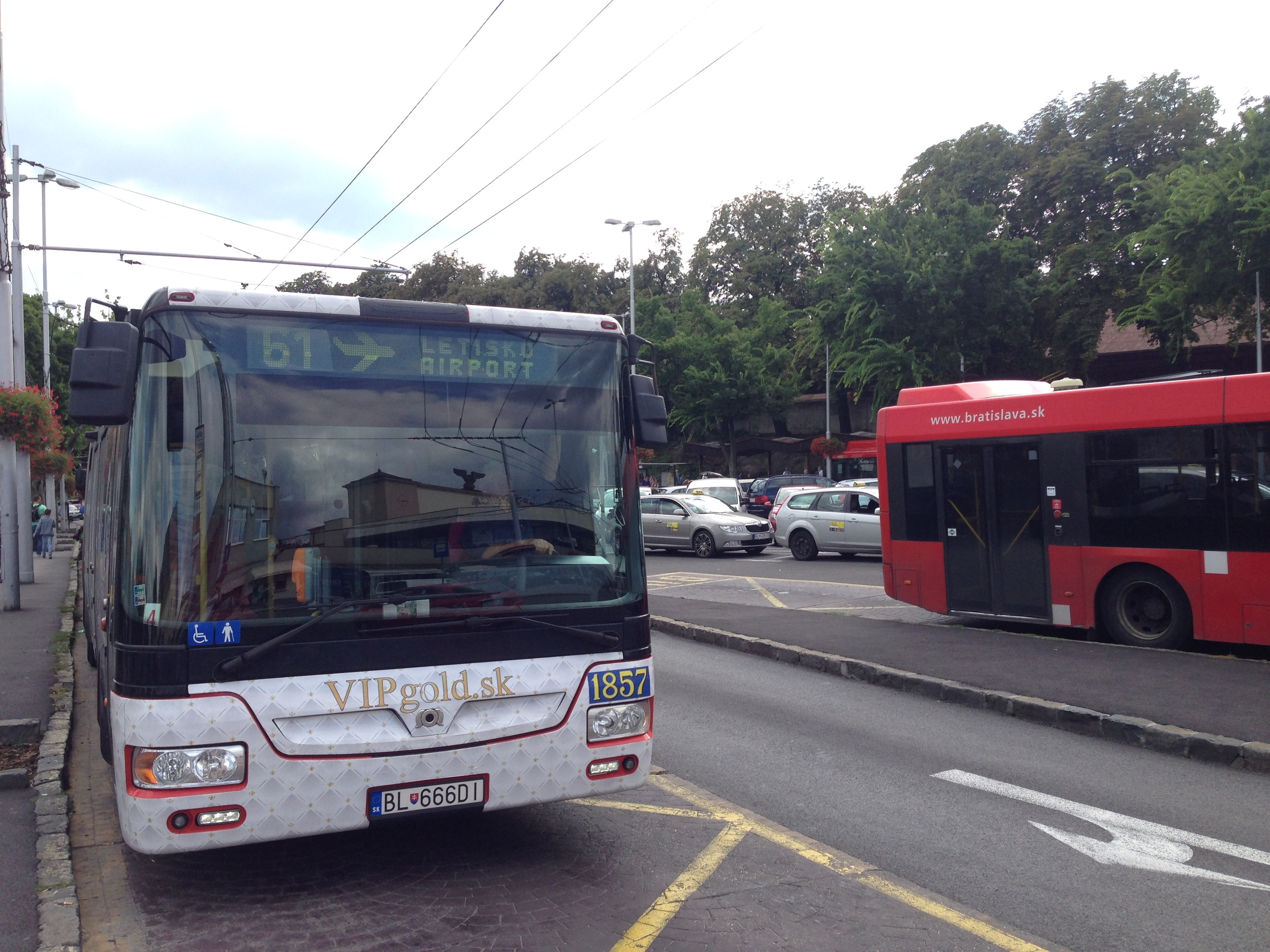 The line 61 bus connecting Bratislava Airport to the city centre. It's a bargain, too, at just €0.90 per person.