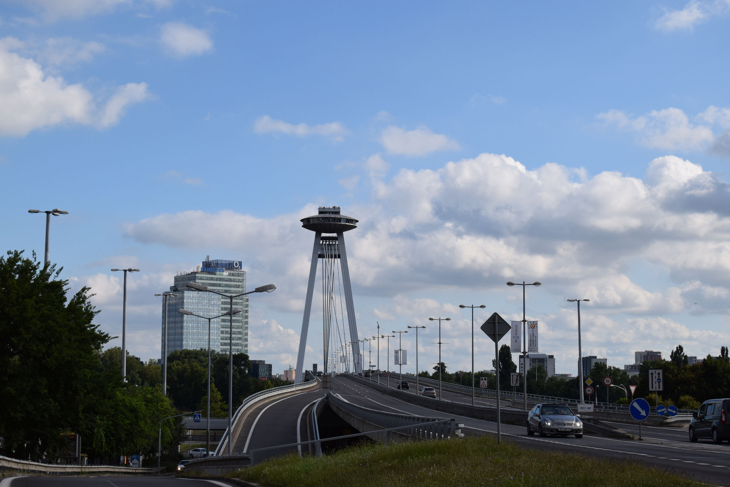 The UFO restaurant and observation deck is a towering presence.
