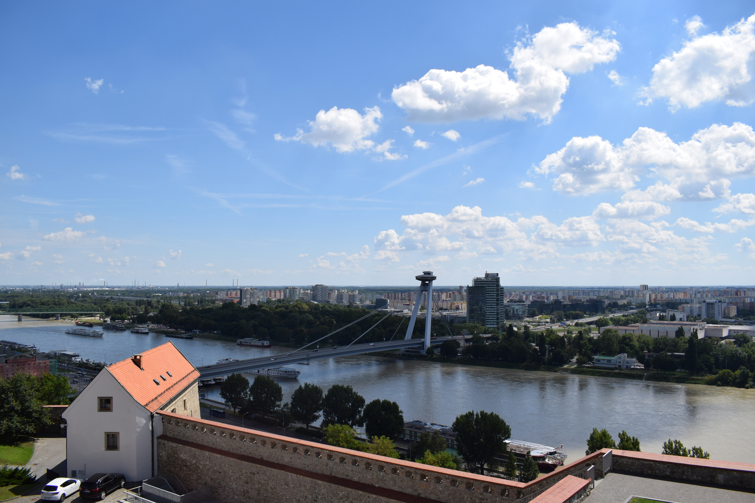 Looking down over Bratislava from the castle grounds.