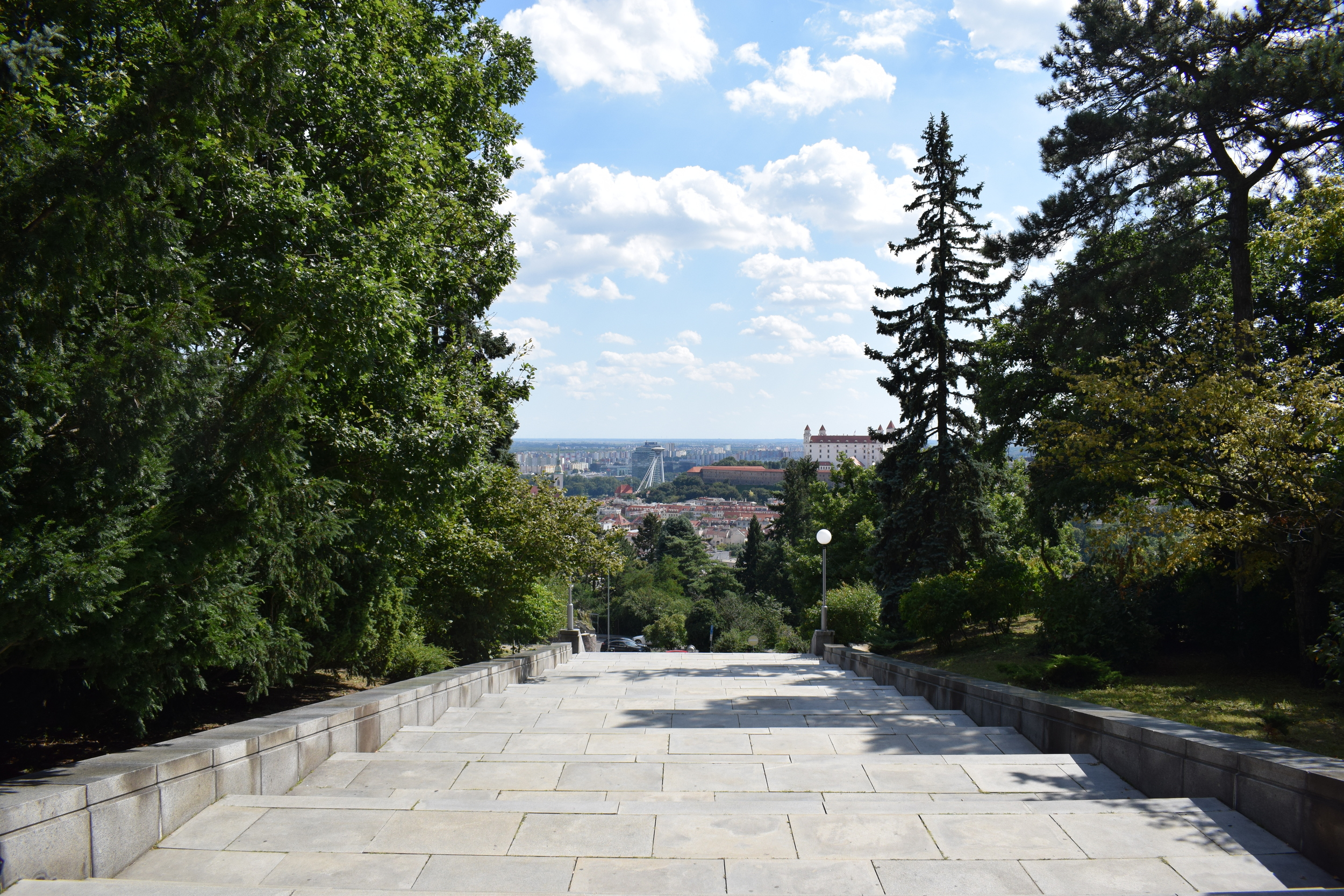 Looking out at the city from the top of Slavin's entrance steps.