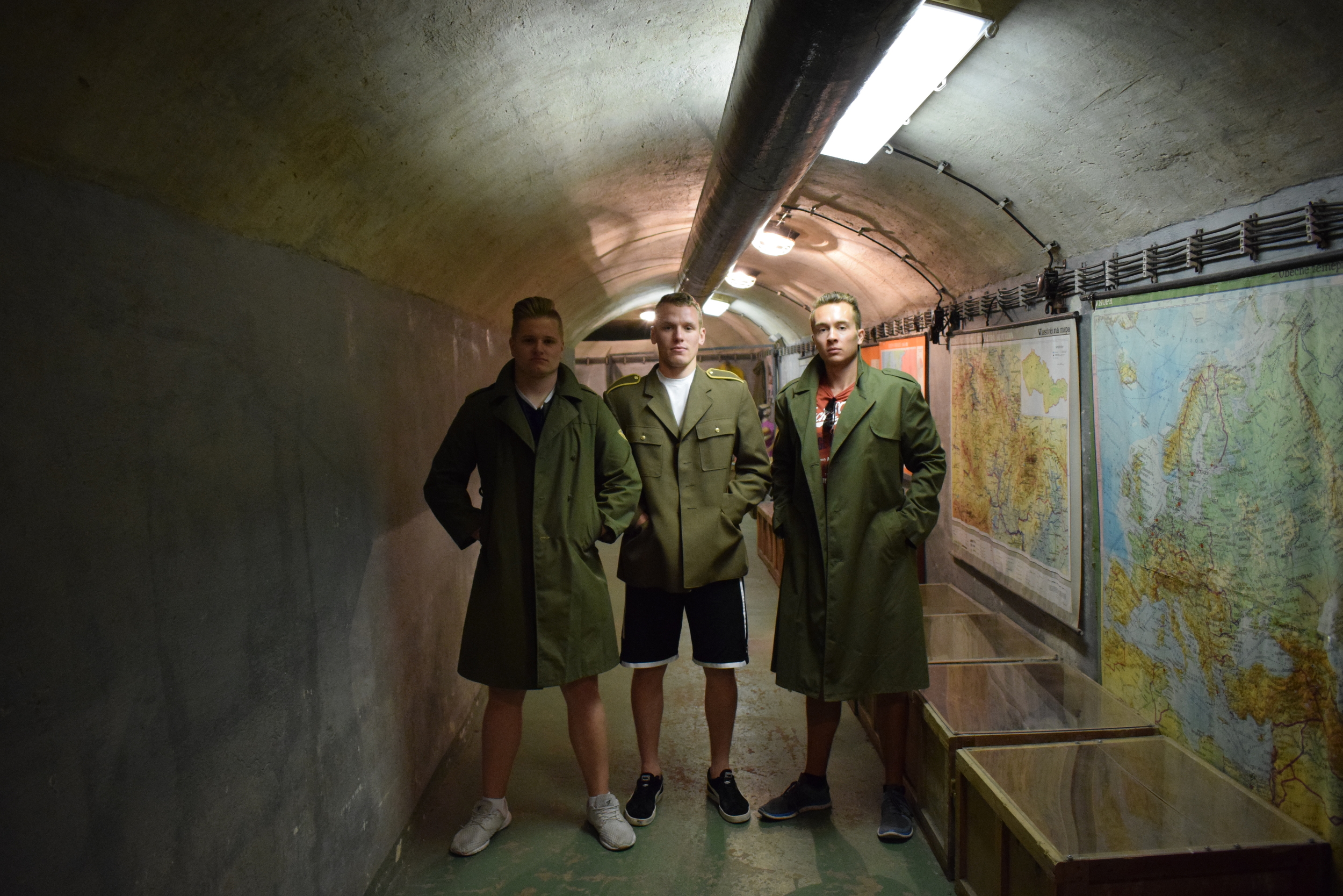 Posing in communist dress inside the nuclear bunker. Facial expressions are for effect only.