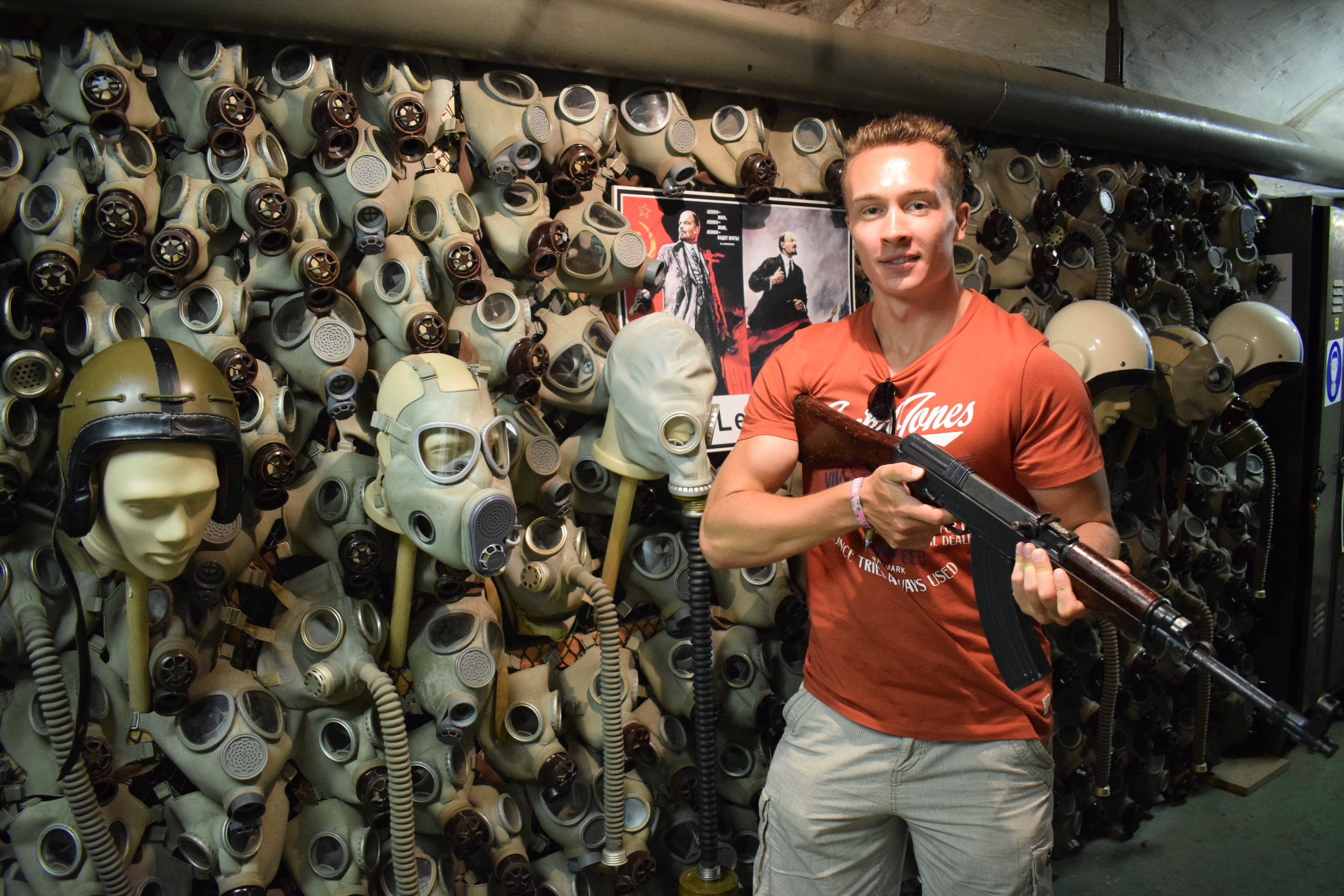 Guns and gas masks - just a handful of the memorabilia on display at Prague's nuclear bunker.