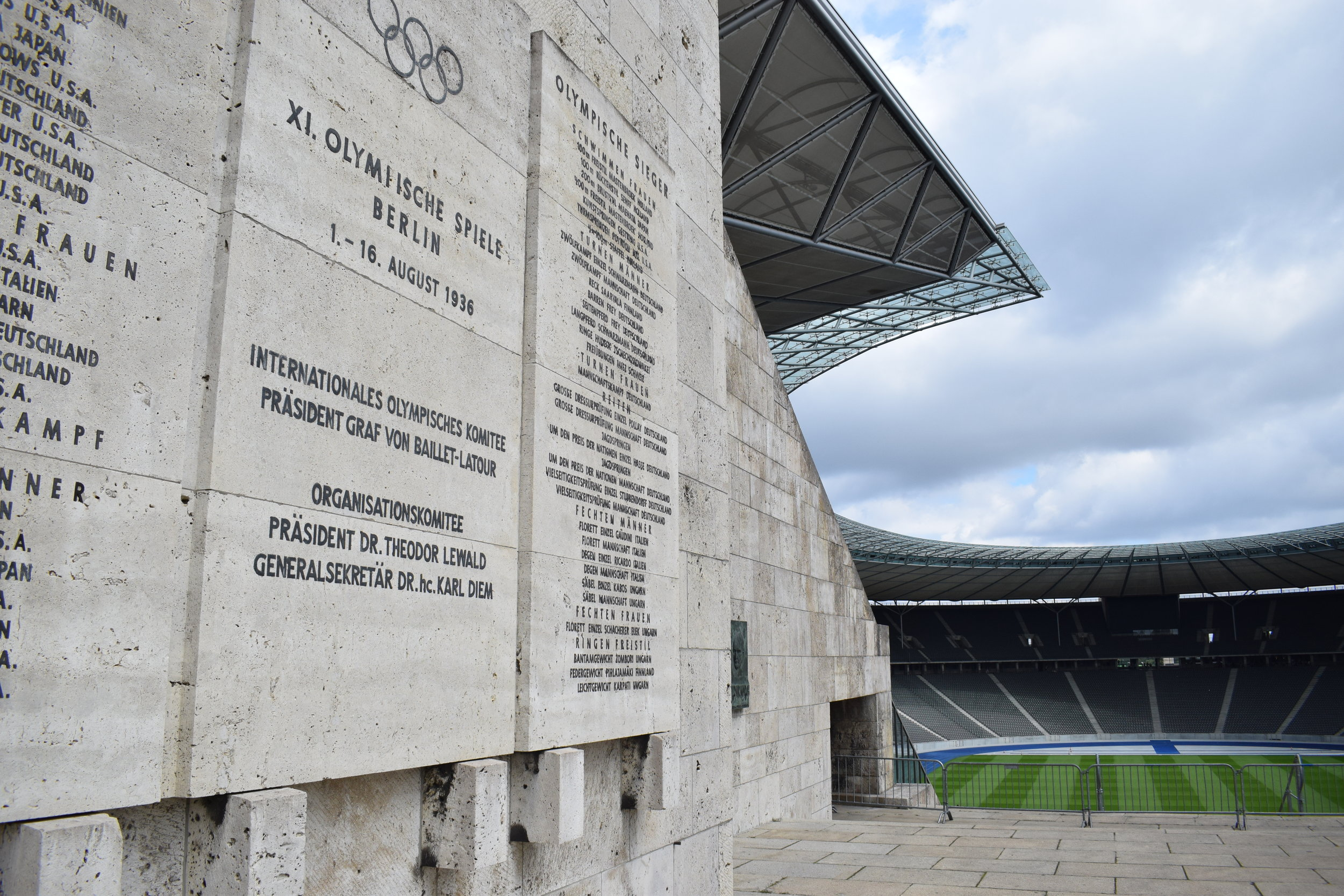 A plaque commemorates the 1936 games and gold medal winners.