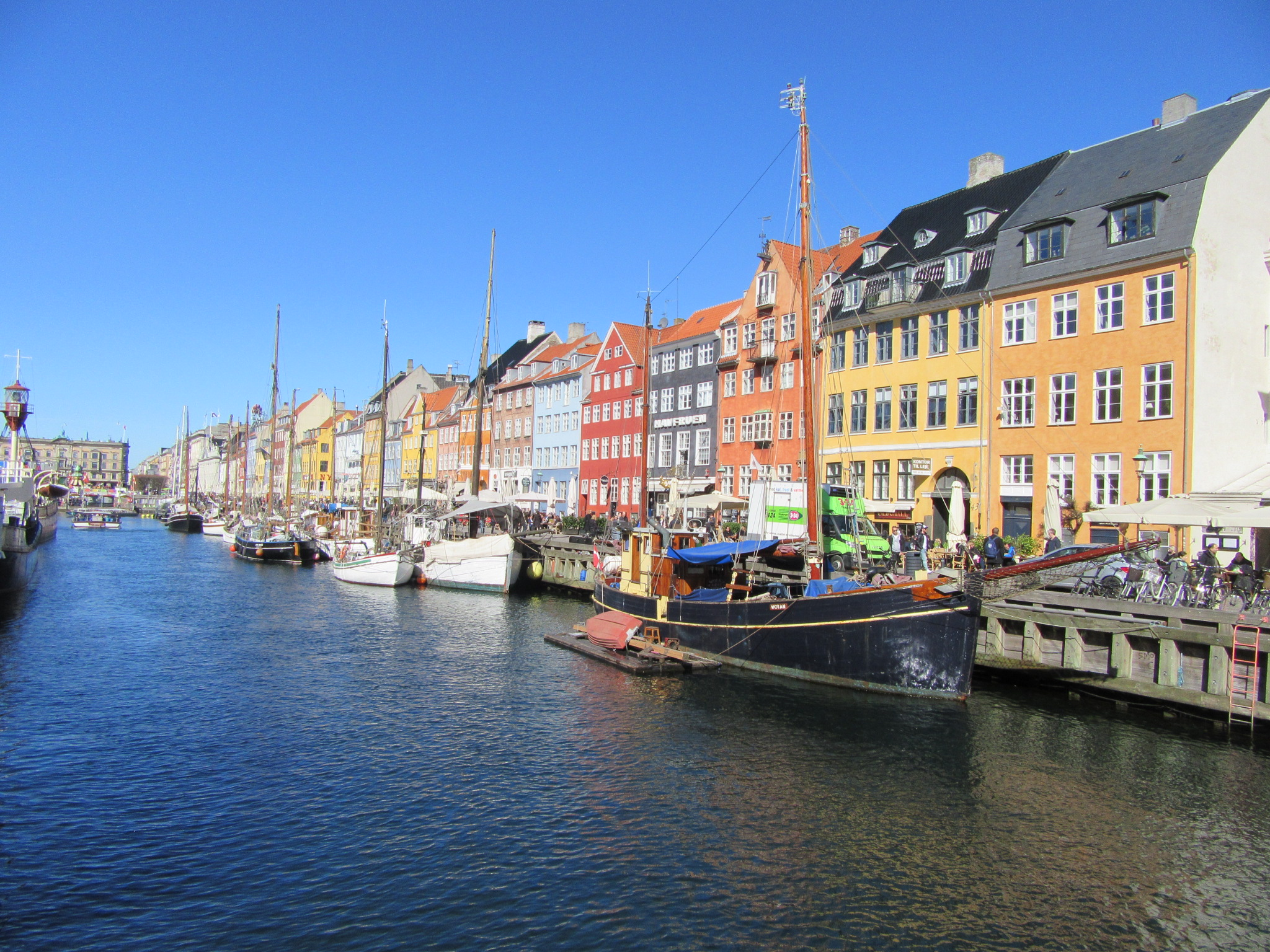 The colourful façades of Nyhavn - a major tourist attraction (and tourist trap) in Copenhagen.