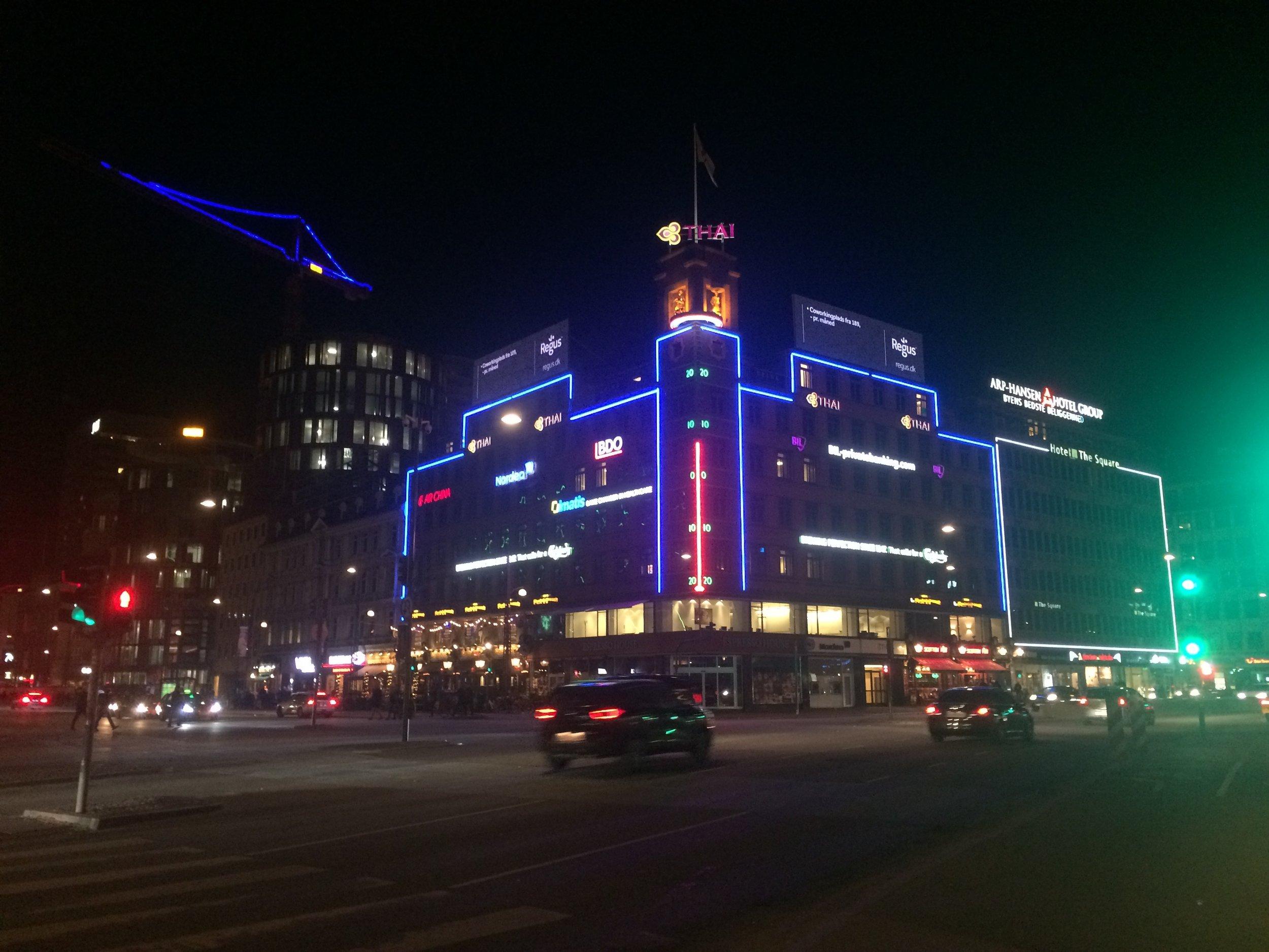 Copenhagen city centre at night.
