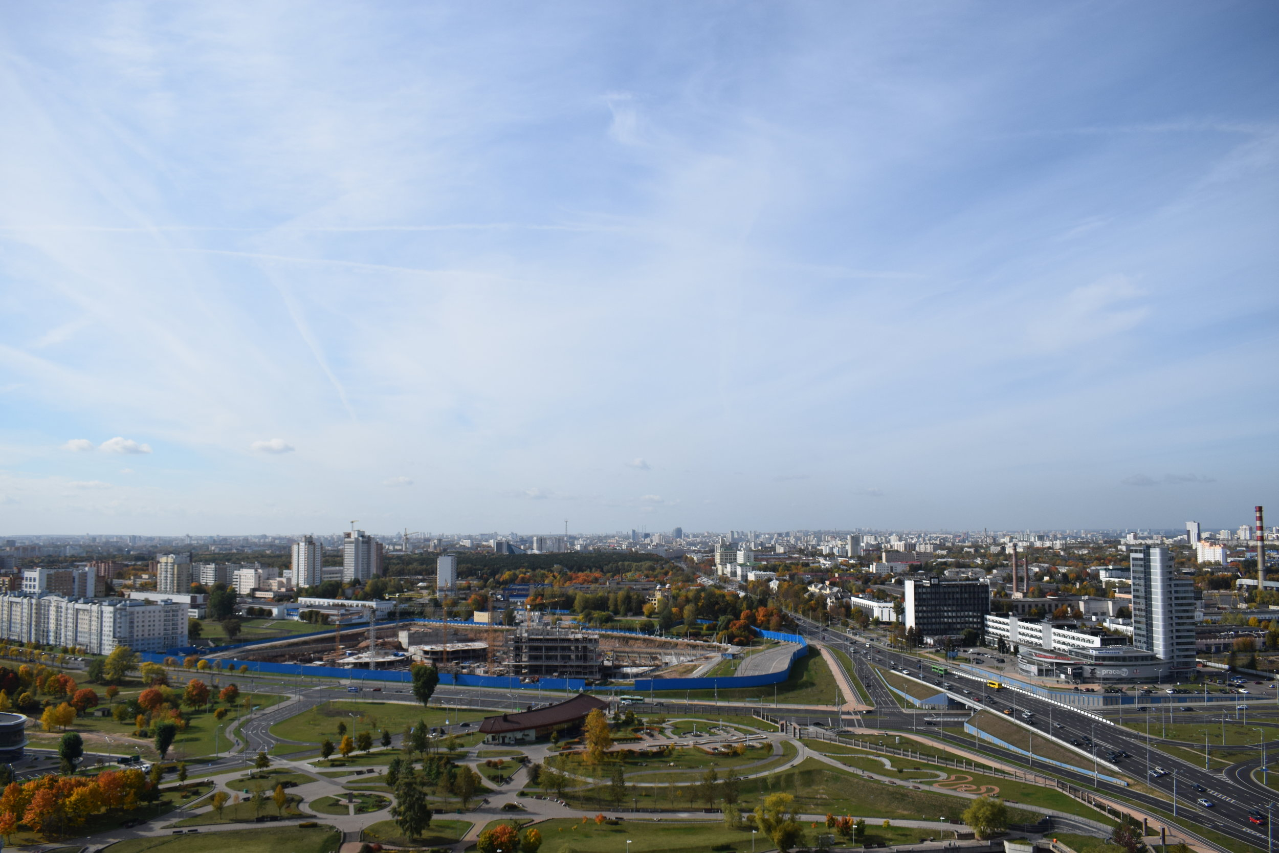 View over downtown Minsk from the library's roof.