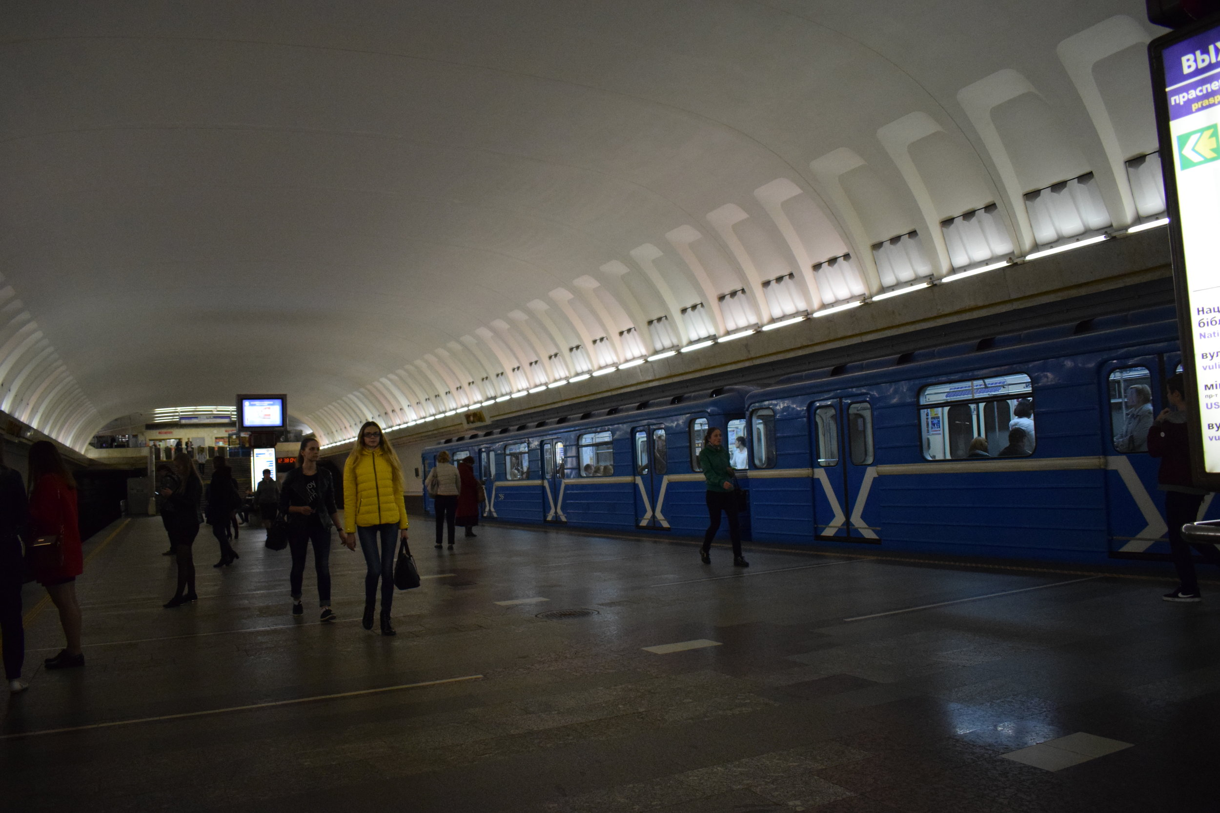 Getting a sneaky snap inside one of Minsk's Metro stations.