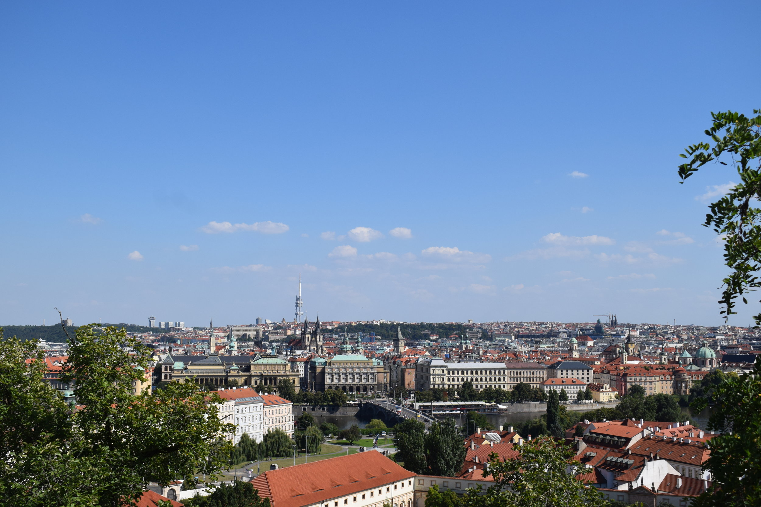 A stunning view over Prague from the grounds of its castle.