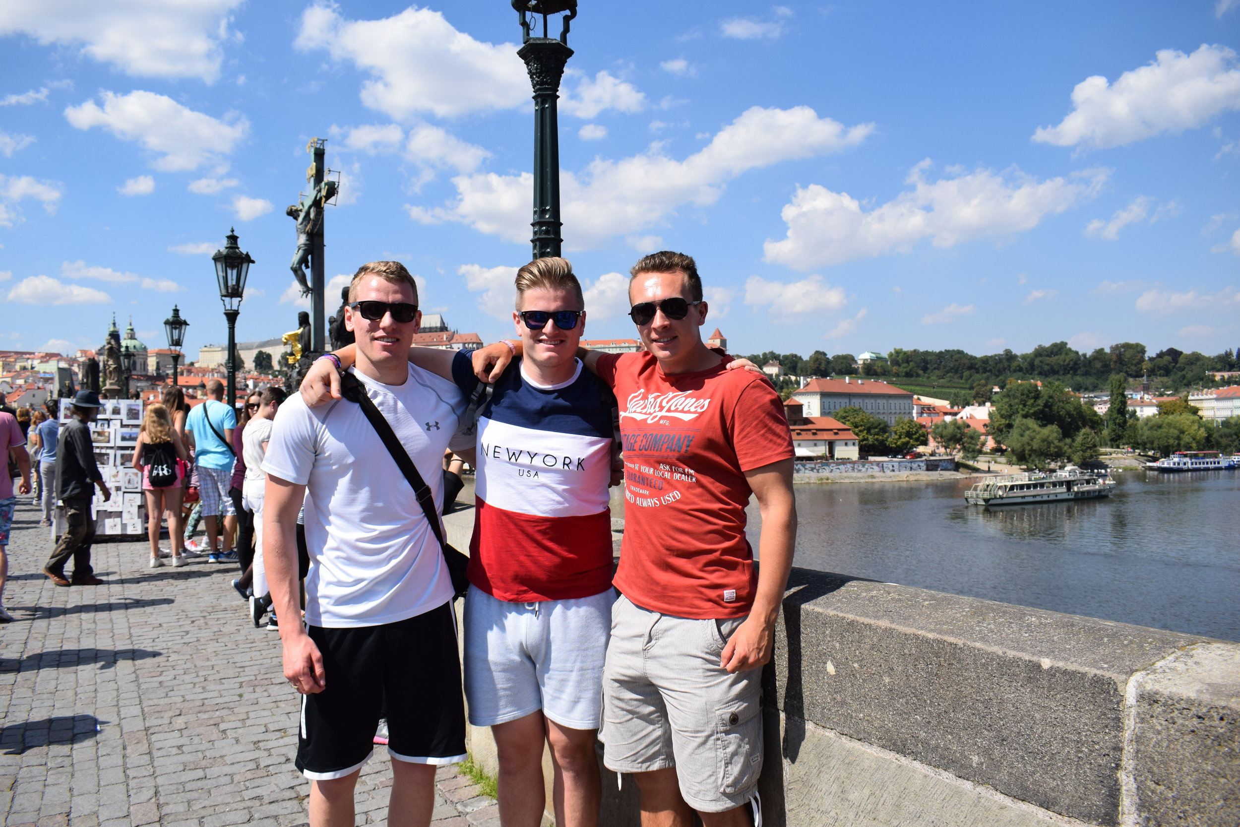 Don't be fooled by a critical blog post - I still had a great time in Prague, and so did my friends. Here we are standing, and smiling, on Charles Bridge.