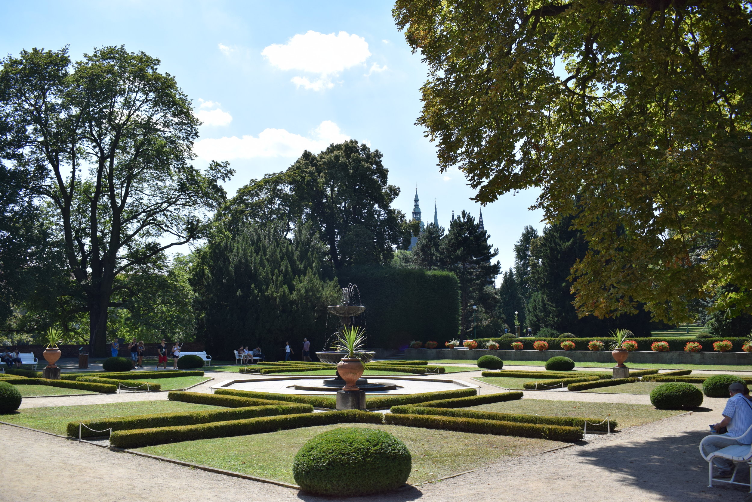 The gardens at Prague Castle illuminated by some midday summer sunlight.