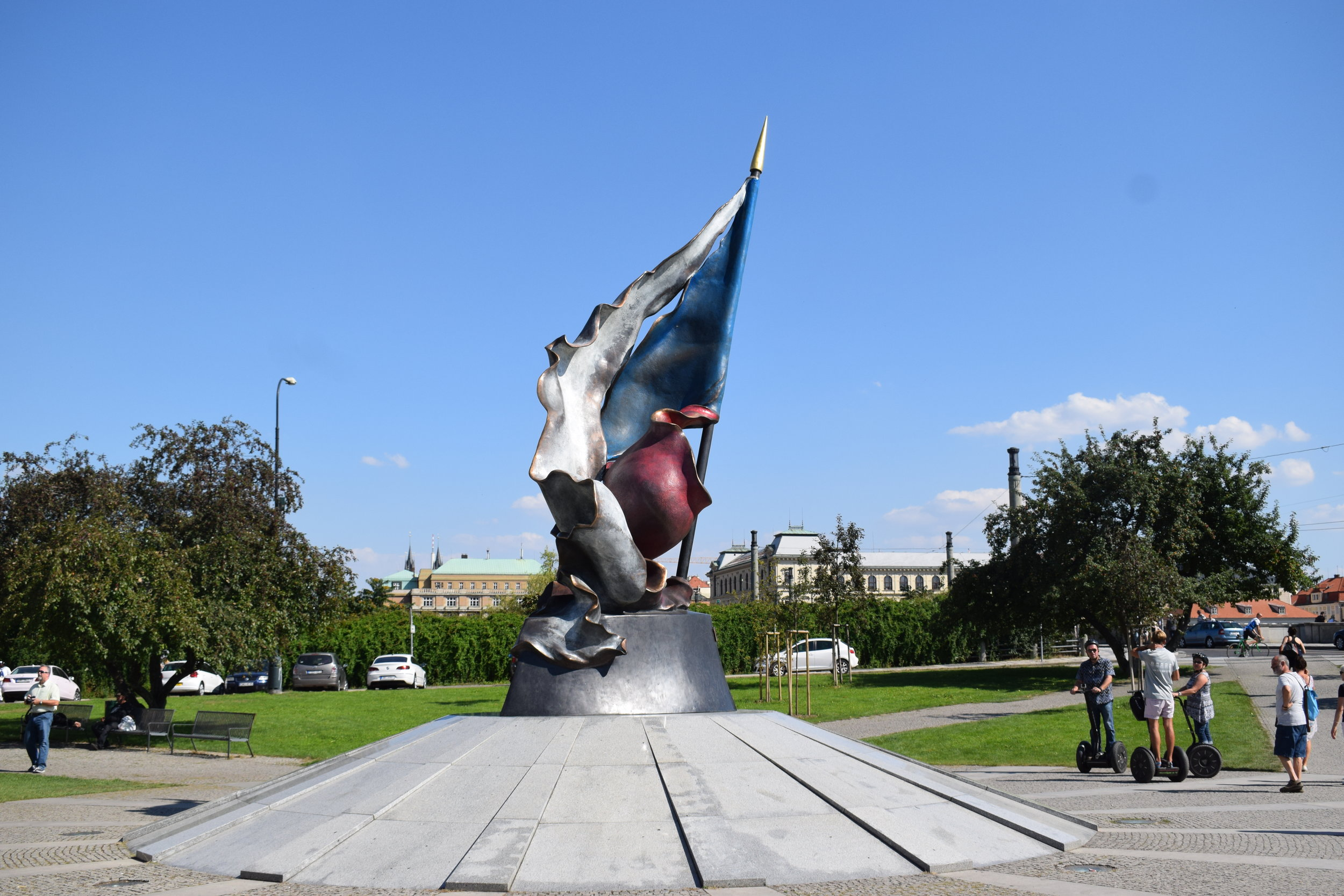 A monument to the second resistance movement of the Czech people, which was in retaliation to the Nazi occupation of Czechoslovakia from 1938 to 1945.