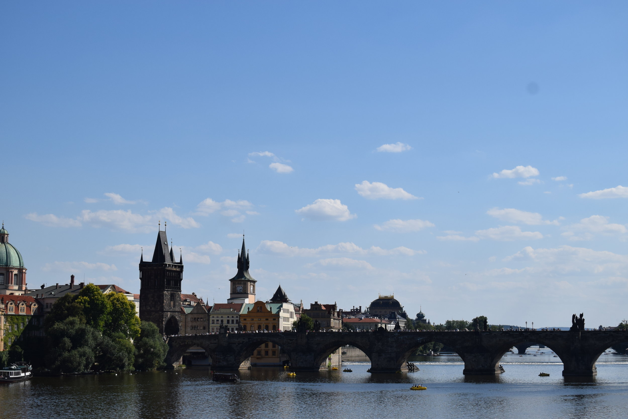 Looking back at Charles Bridge across the Vltava.