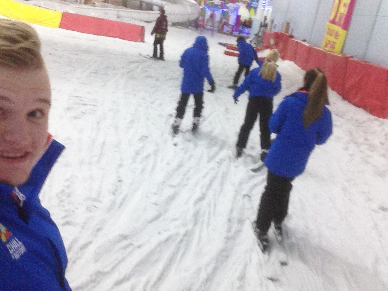 The first part of the lesson was to just slide around on the skis.