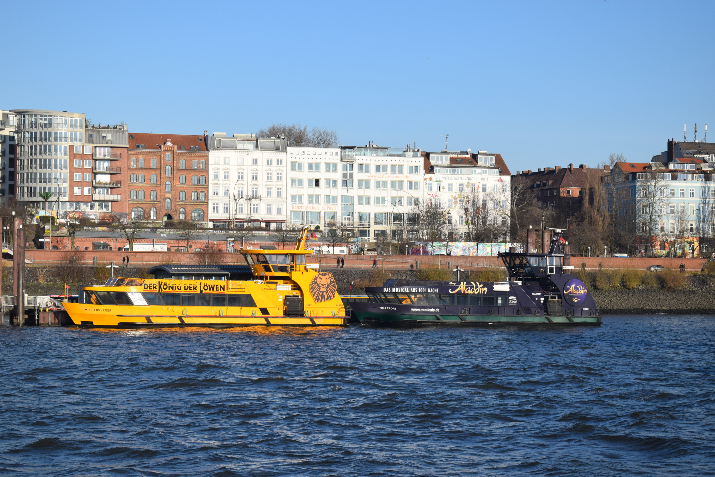 Theatre is a big deal in Hamburg, and some boats are adorned with musical advertisements.