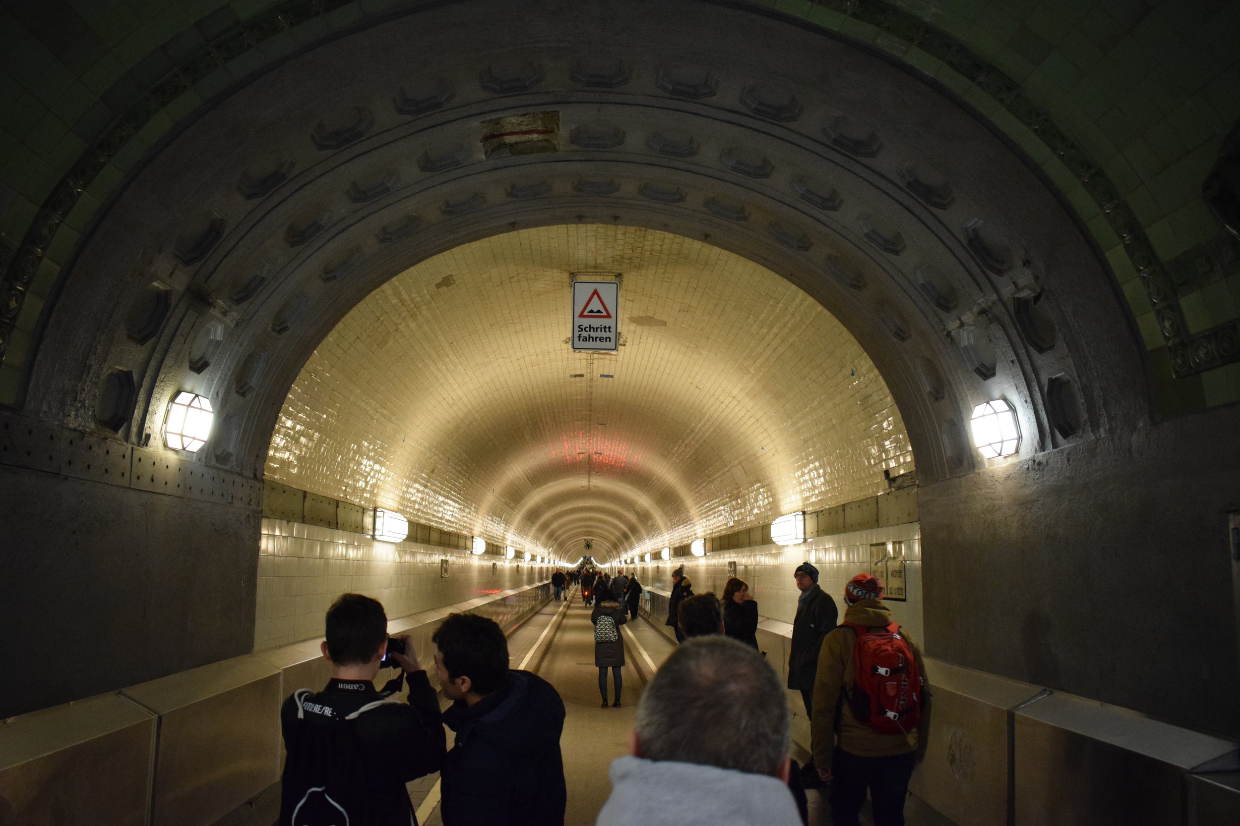 The Elbtunnel runs directly underneath the River Elbe.