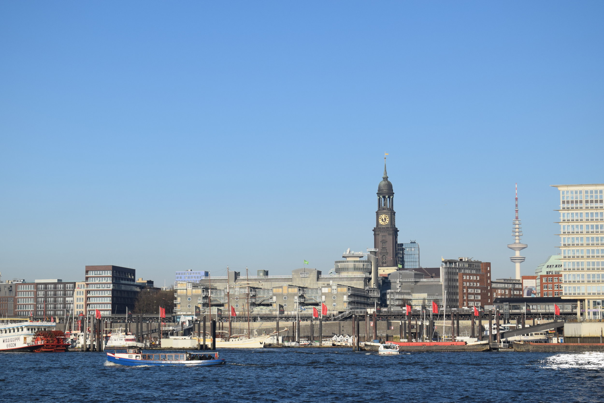 Going on a harbour cruise will give you the opportunity to get great retrospective views of the Hamburg skyline.