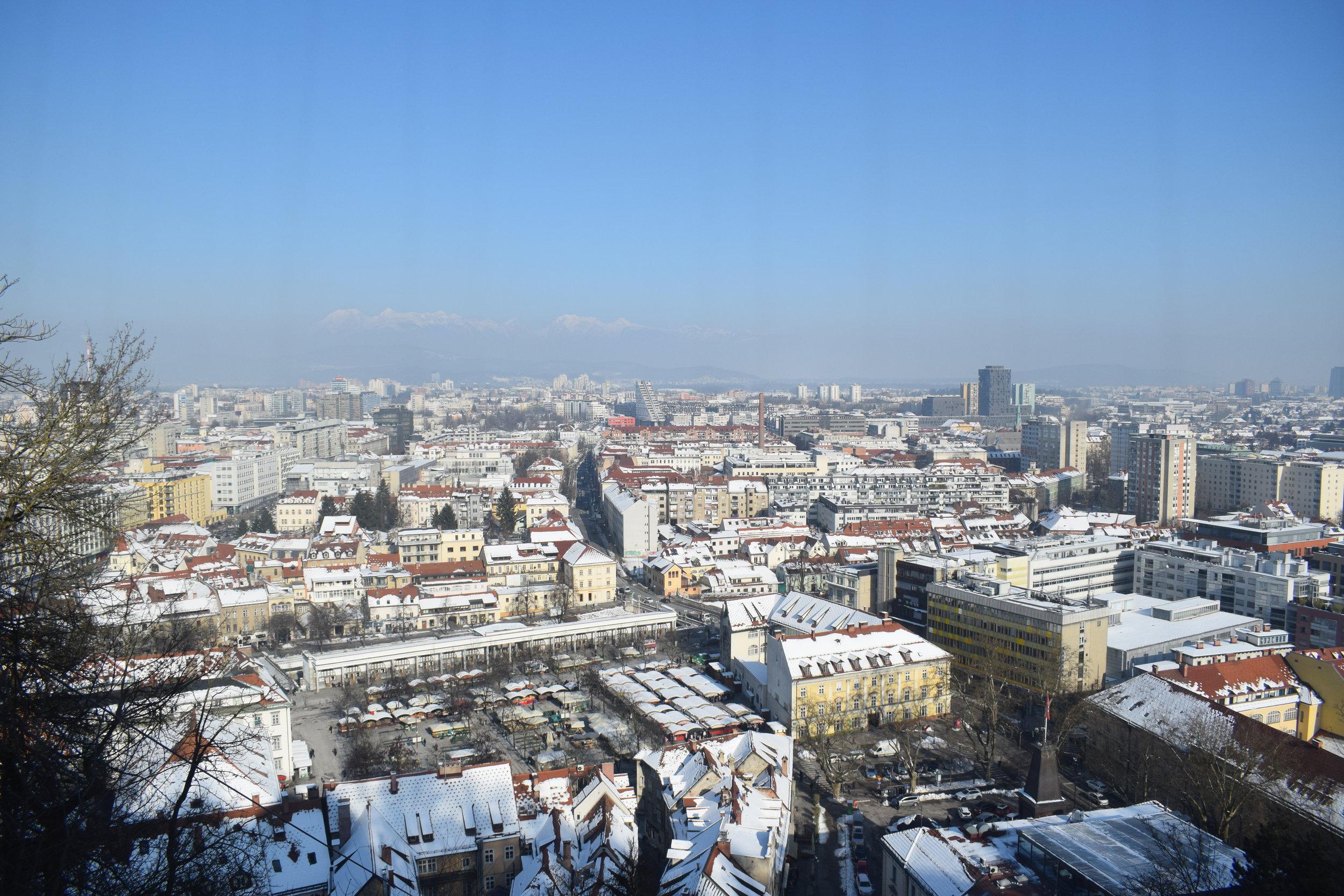 Views over Ljubljana from the Ljubljana funicular.