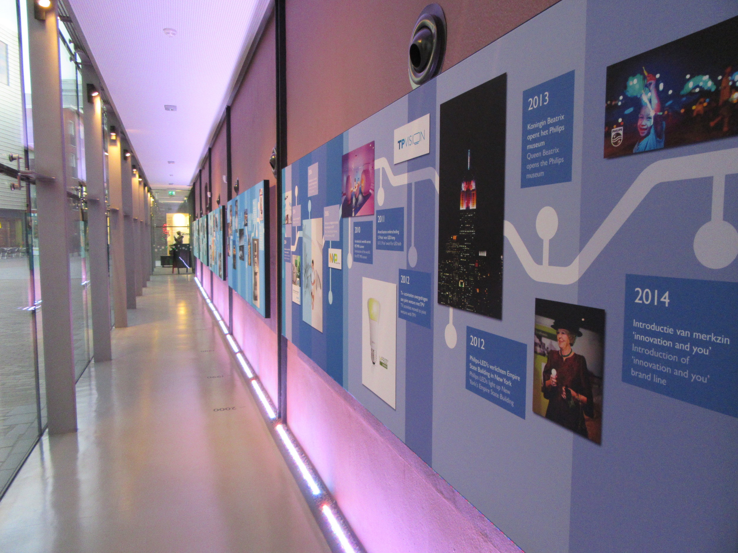 A timeline detailing the history of Philips brand at the Philips Museum located in the centre of Eindhoven.
