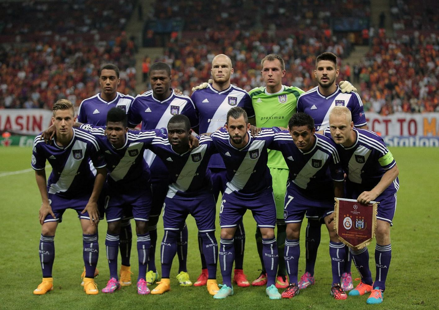 The Anderlecht starting XI line up prior to a 1-1 draw with Galatasaray in Istanbul in 2014.