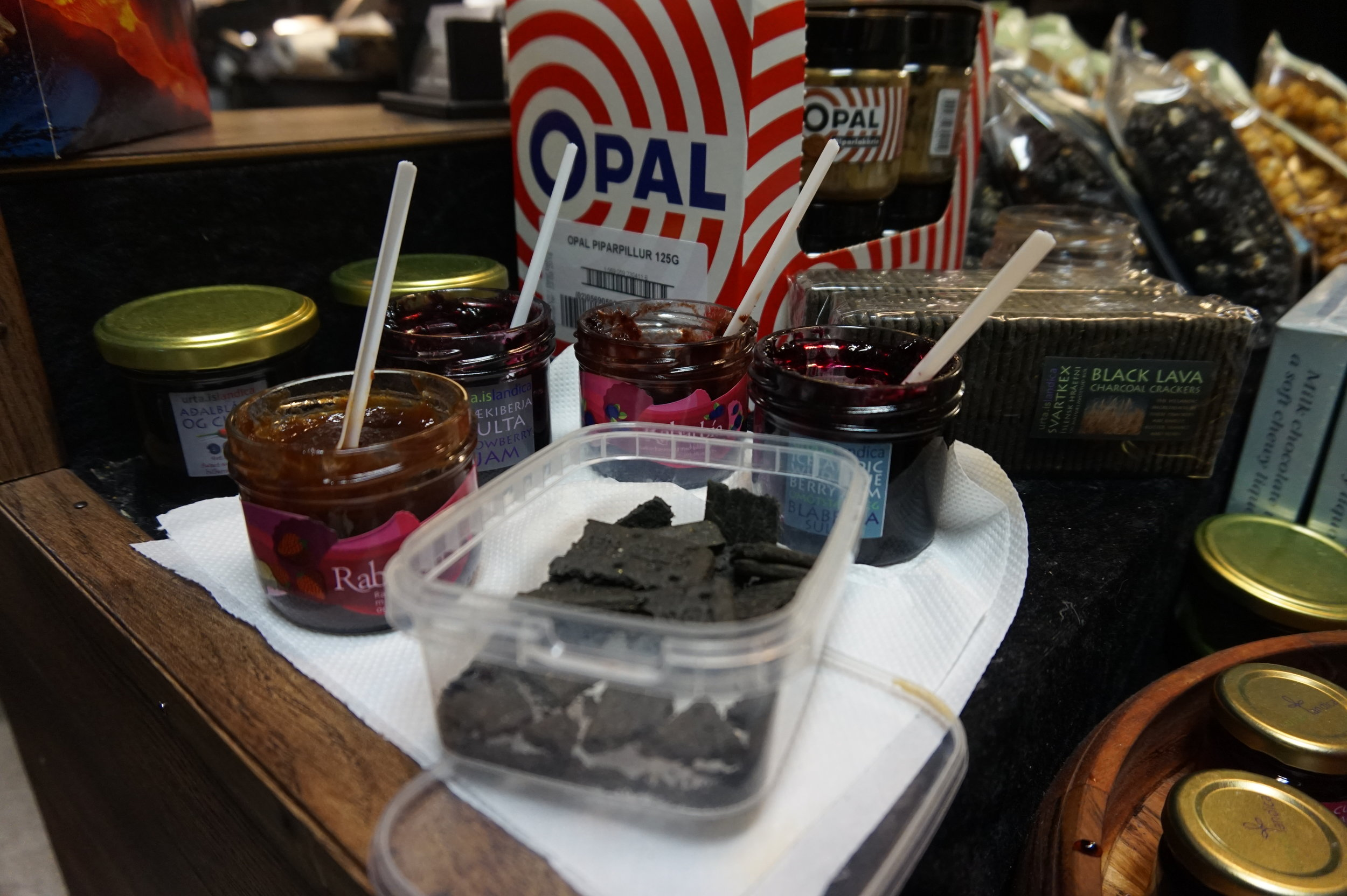 There were some interesting delights at Kolaportid, such as black lava charcoal crackers with salted fruit jam.