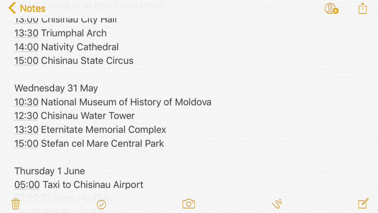 Kiev-Itinerary-iPhone-Notes
