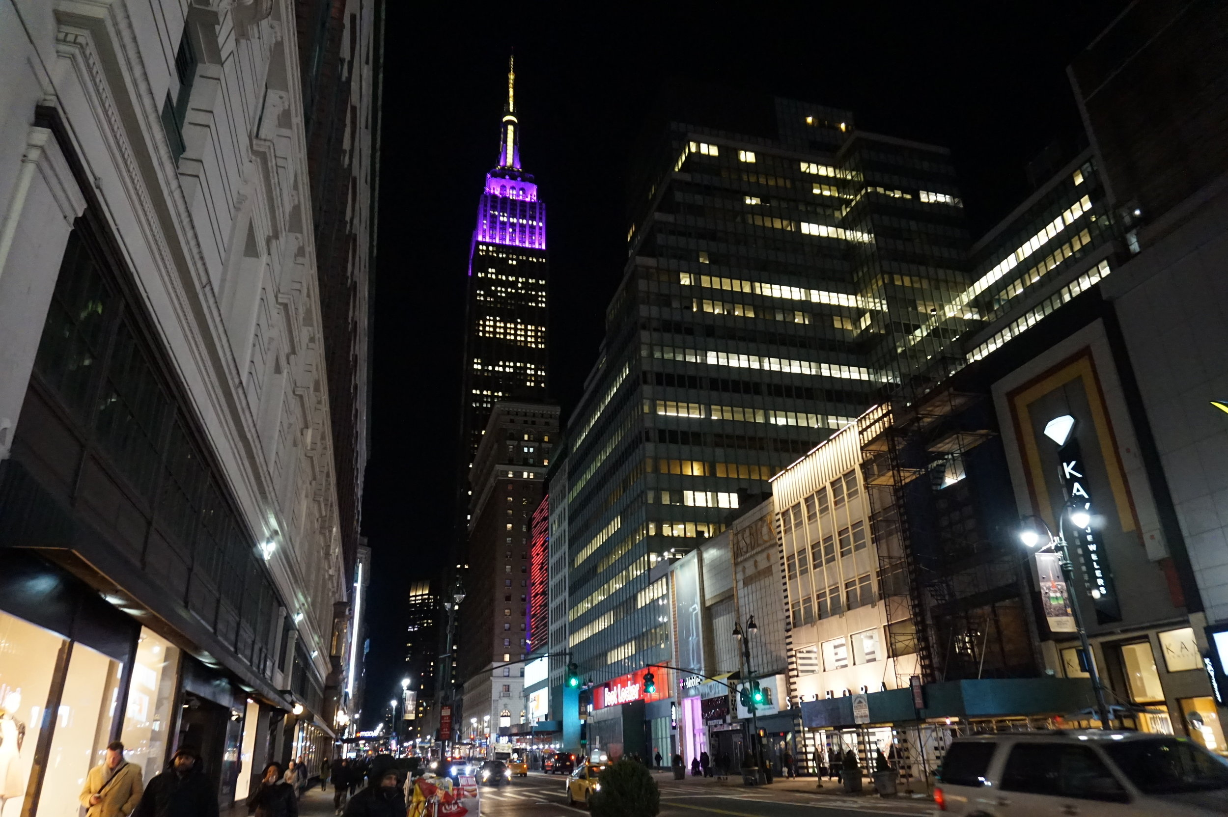 The Empire State Building illuminated purple and gold for the Westminster Kennel Club Dog Show.