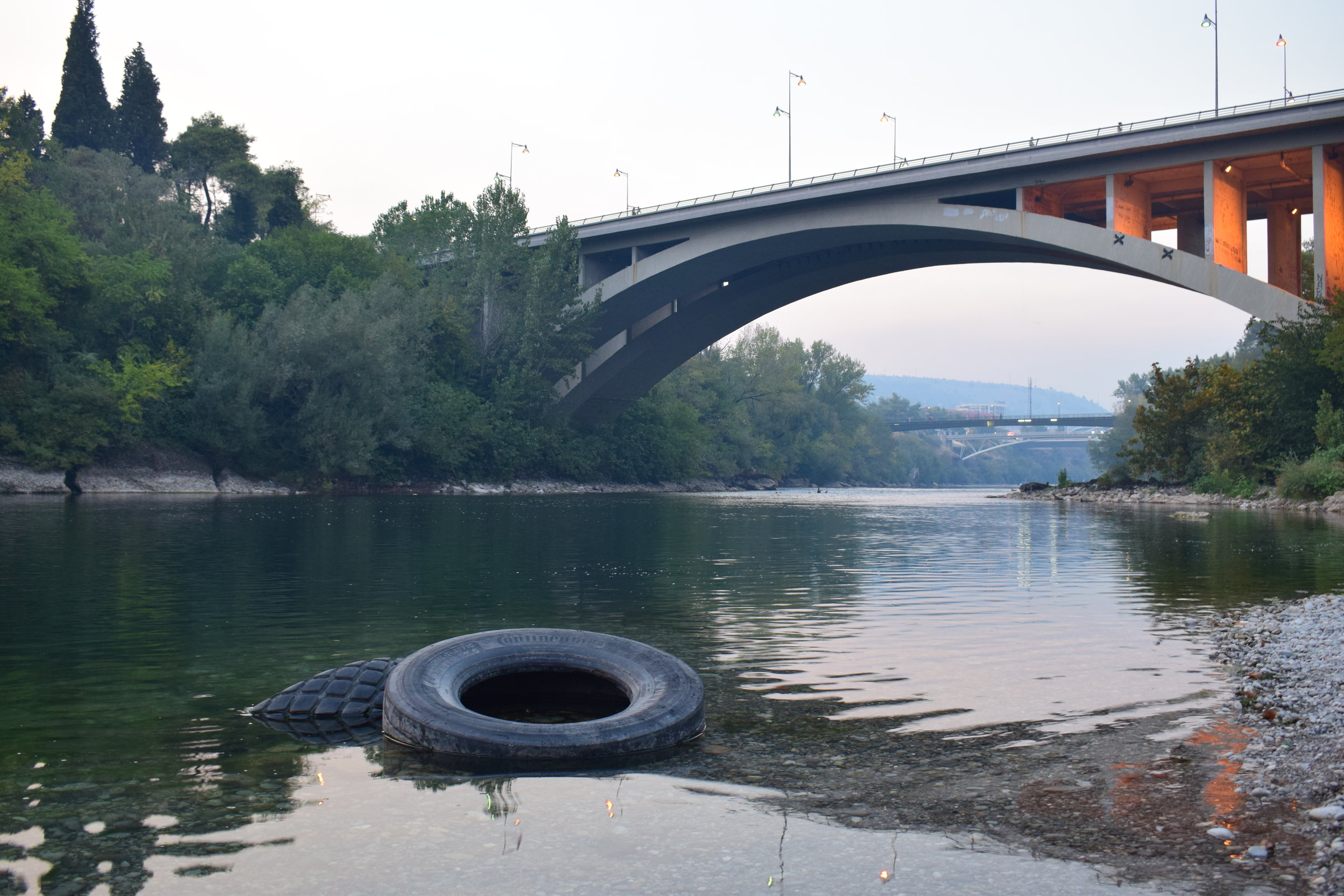Two abandoned tyres in a river was genuinely one of the most photogenic parts of Podgorica.