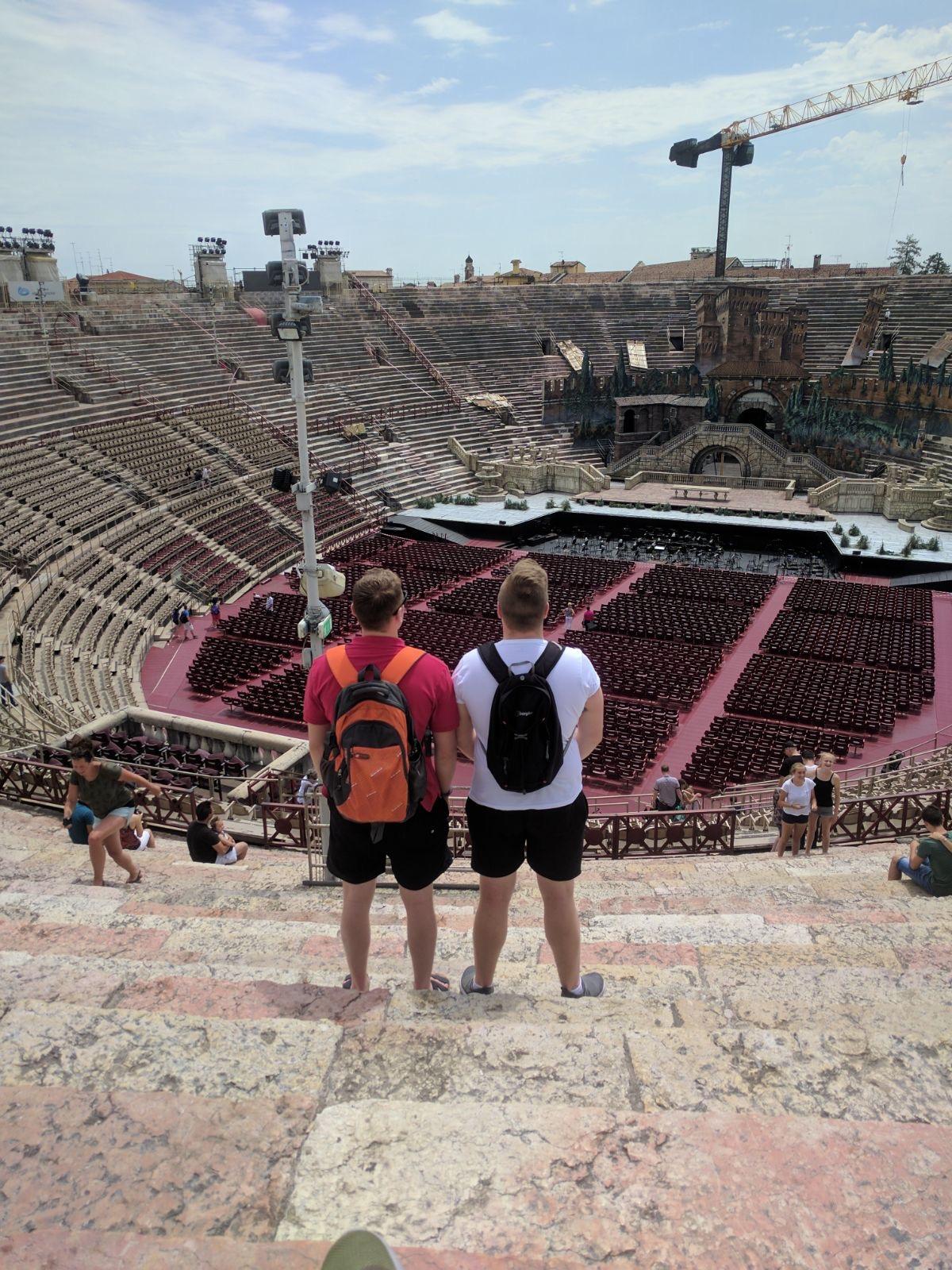 Looking over Arena di Verona in Verona, Italy.