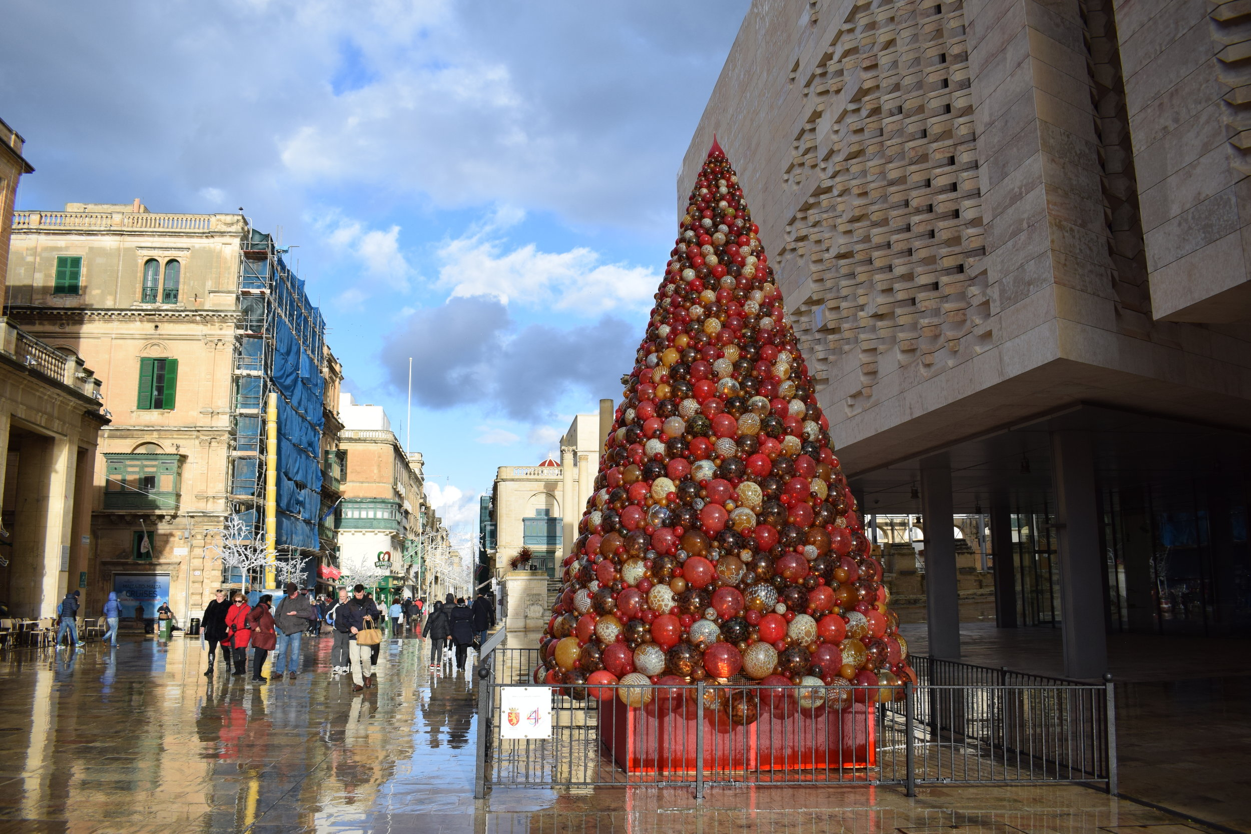 The famous Mdina Glass Christmas tree in Valletta.