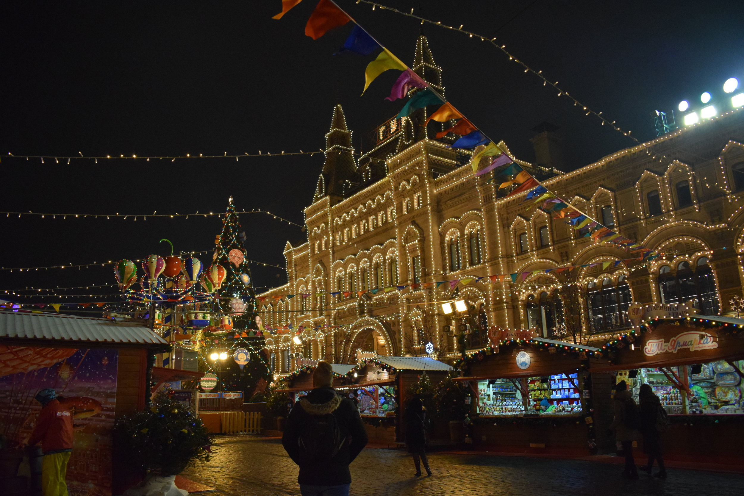 GUM shopping centre overlooks Red Square Christmas Market.