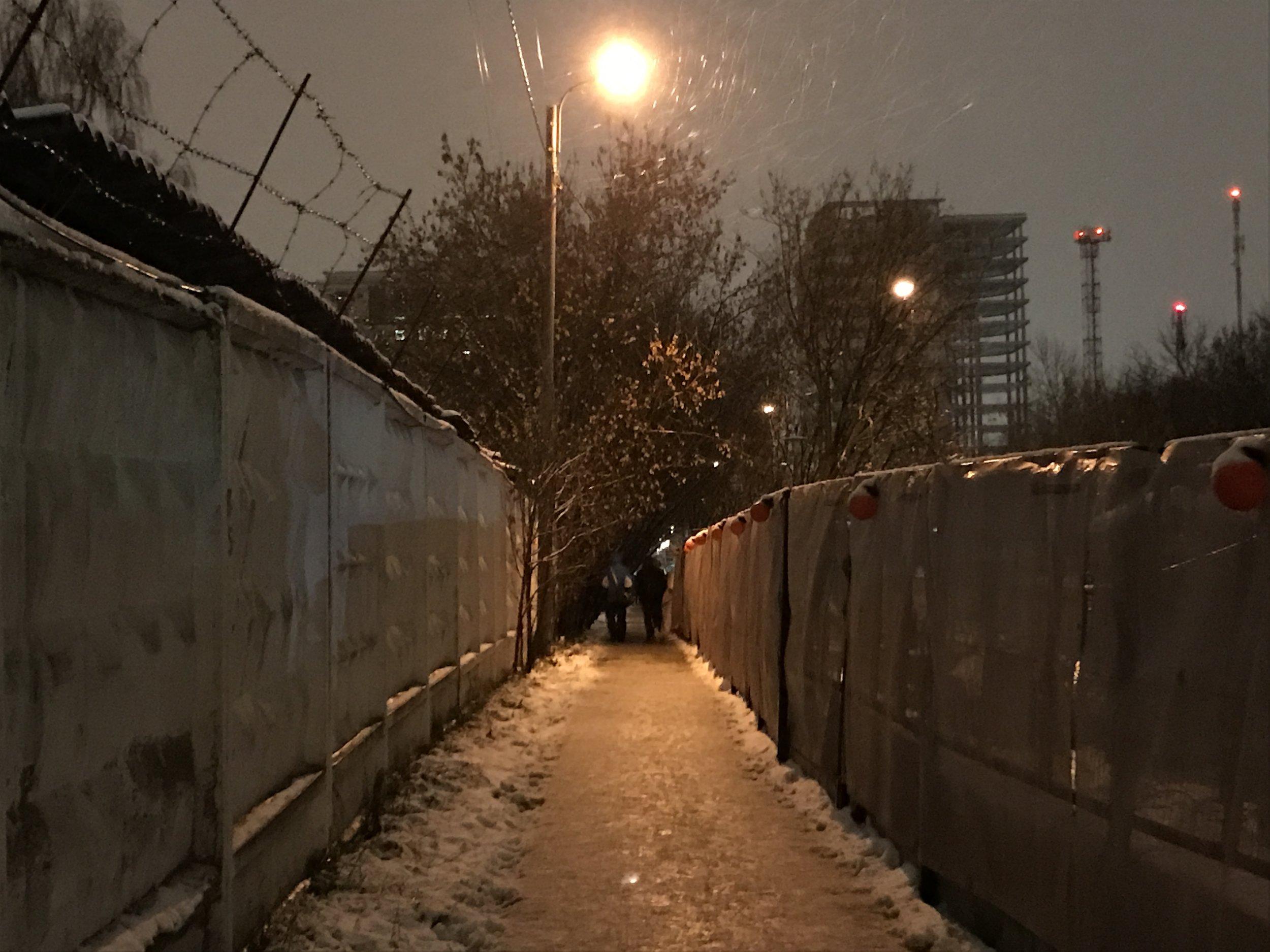 The alleyway between VEB Arena and Zorge.