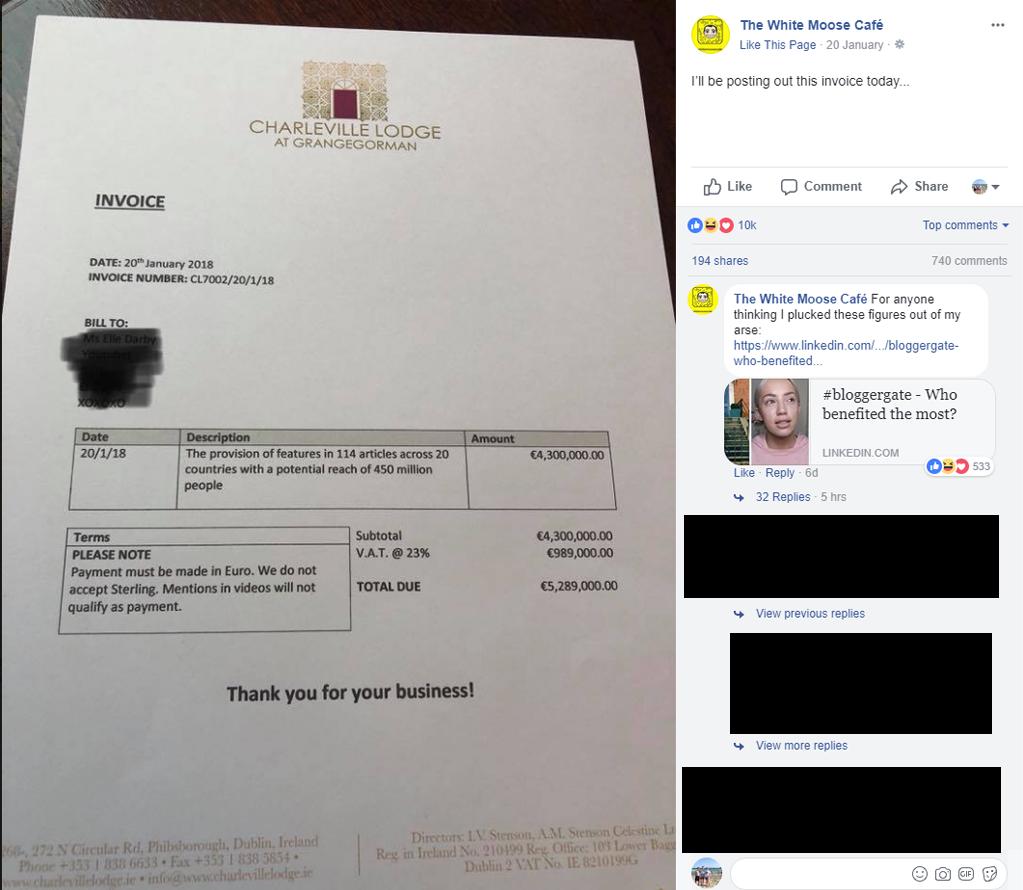 White Moose Café's invoice for Elle Darby. Image credit:    The White Moose Café   /   Facebook