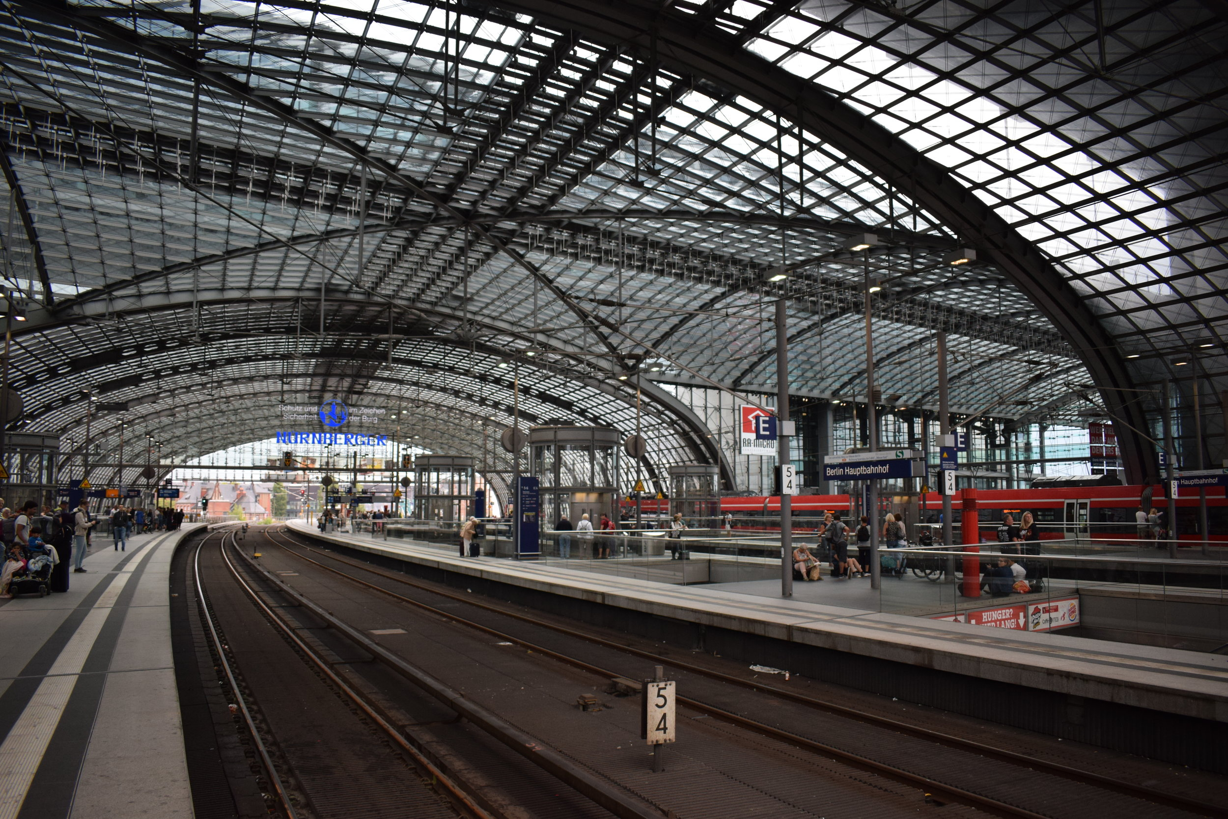 Waiting for the S-Bahn at Berlin Hauptbahnhof.