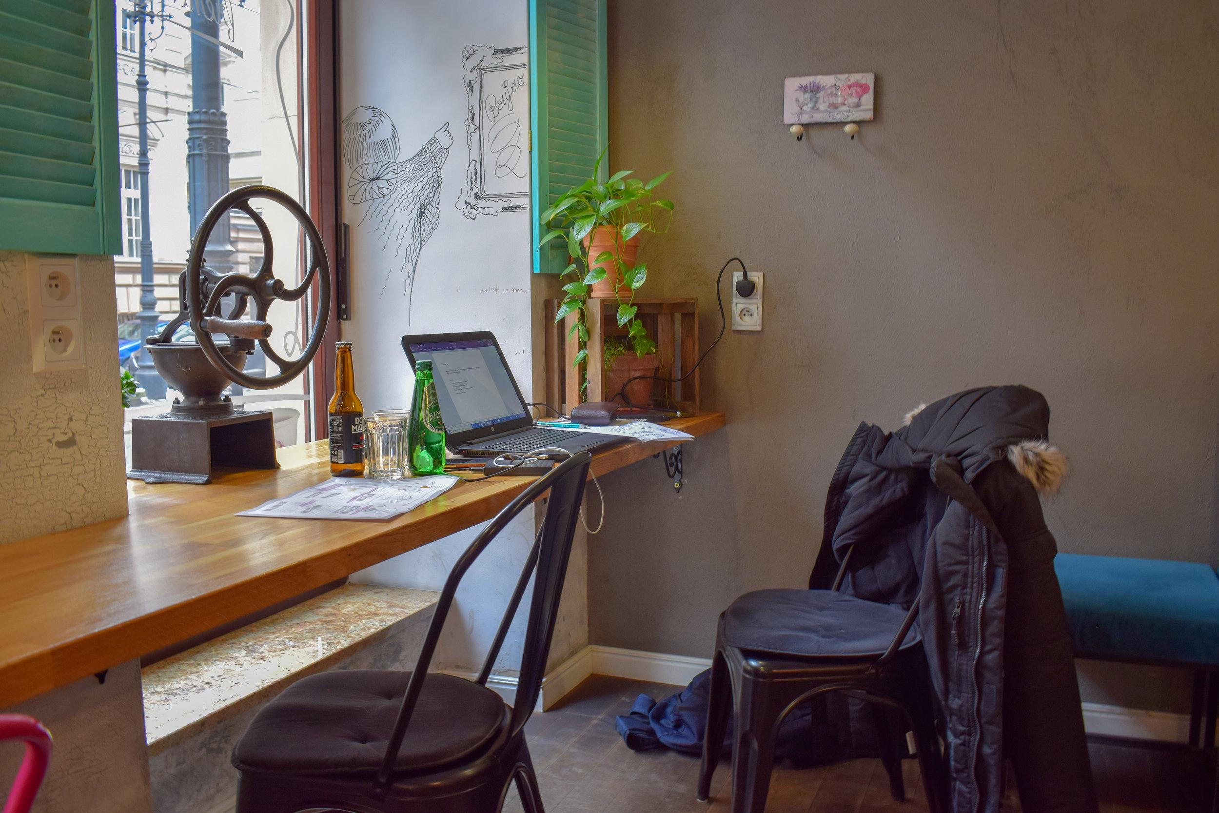 My blogging setup at a cafe in Krakow.